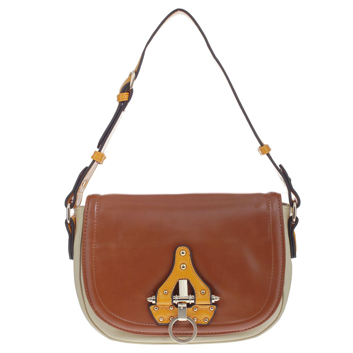 Сумка женская Orsa Oro, цвет: золотисто-коричневый, бежевый, оранжевый. DK-320/44DK-320/44 фьюжн золотисто-коричневыйСтильная сумка Orsa Oro изготовлена из высококачественной экокожи в стиле фьюжн. Сумка закрывается на застежку-молнию, а сверху широким клапаном на кнопку-магнит. Сумка оформлена декоративным нашивным элементом из кожи, украшенным клепками и металлическим кольцом, с помощью которого открывается клапан. Сумка имеет одно вместительное отделение, внутри которого два накладных кармашка для мелочей и мобильного телефона, а также вшитый карман на застежке-молнии. На задней стороне сумки расположен вшитый карман на застежке-молнии. Модель оснащена удобным плечевым ремнем регулируемой длины. Сумка - это стильный аксессуар, который подчеркнет вашу изысканность и индивидуальность и сделает ваш образ завершенным.