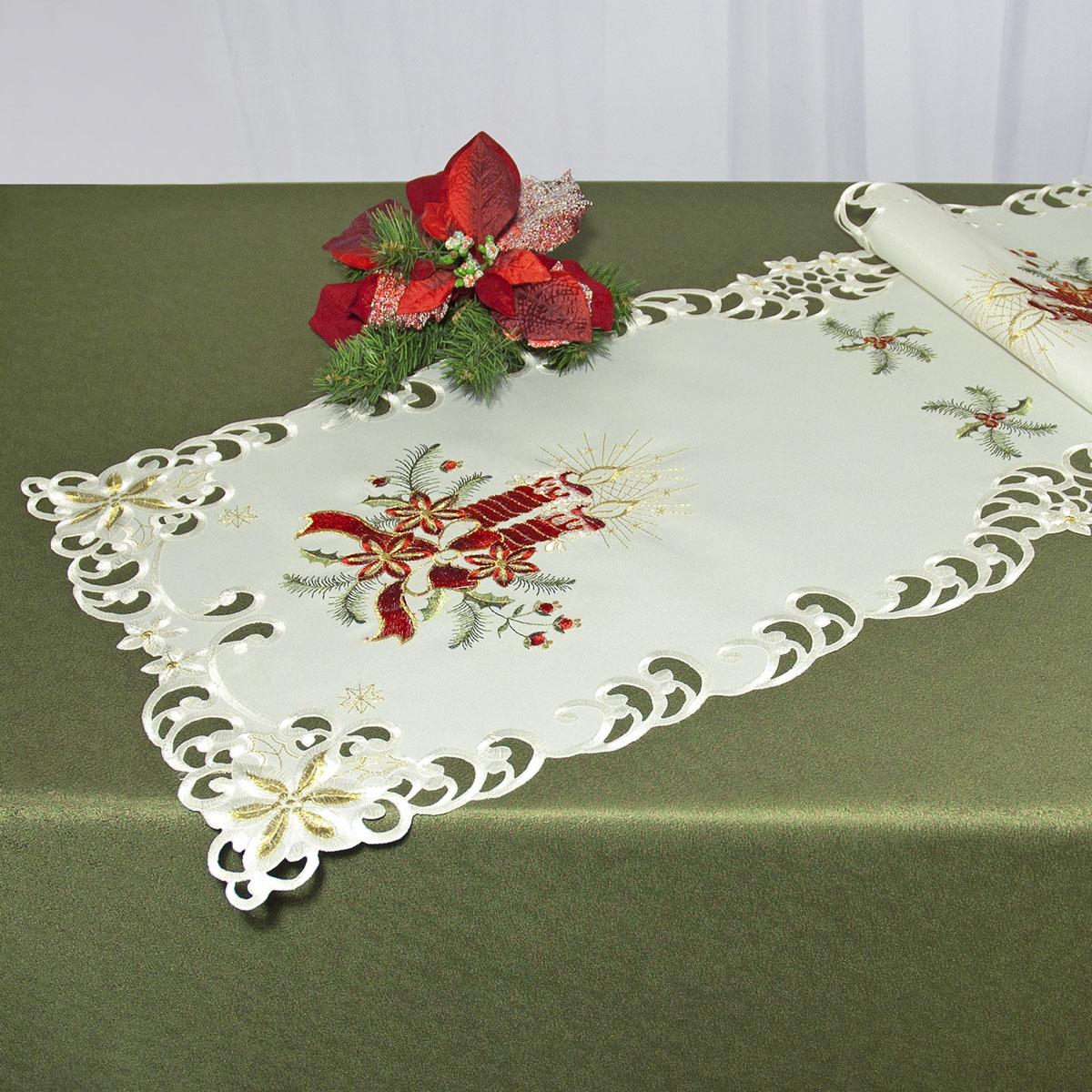 Дорожка для декорирования стола Schaefer, прямоугольная, цвет: белый, красный, 40 x 110 см 07483-23307483-233Дорожка Schaefer выполнена из высококачественного полиэстера и украшена вышитыми рисунками в виде новогодних свечей. Края дорожки оформлены в технике ришелье. Вы можете использовать дорожку для декорирования стола, комода или журнального столика. Благодаря такой дорожке вы защитите поверхность мебели от воды, пятен и механических воздействий, а также создадите атмосферу уюта и домашнего тепла в интерьере вашей квартиры. Изделия из искусственных волокон легко стирать: они не мнутся, не садятся и быстро сохнут, они более долговечны, чем изделия из натуральных волокон. Изысканный текстиль от немецкой компании Schaefer - это красота, стиль и уют в вашем доме. Дорожка органично впишется в интерьер любого помещения, а оригинальный дизайн удовлетворит даже самый изысканный вкус. Дарите себе и близким красоту каждый день!