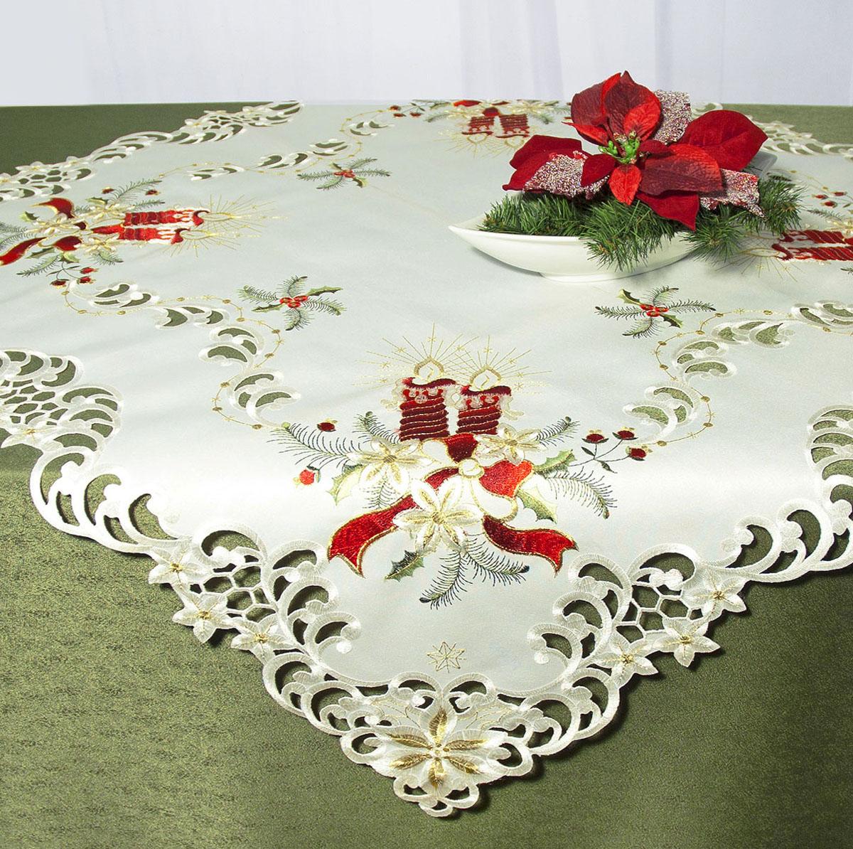 Скатерть Schaefer, квадратная, цвет: белый, красный, 85 x 85 см. 07483-10007483-100Скатерть Schaefer изготовлена из высококачественного полиэстера и украшена новогодней вышивкой. Края изделия оформлены вышивкой в технике ришелье. Изделия из полиэстера легко стирать: они не мнутся, не садятся и быстро сохнут, они более долговечны, чем изделия из натуральных волокон. Кроме того, ткань обладает водоотталкивающими свойствами. Такая скатерть будет просто не заменима на кухне, а особенно на вашем обеденном столе на даче под открытым небом. Скатерть Schaefer не останется без внимания ваших гостей, а вас будет ежедневно радовать ярким дизайном и несравненным качеством. Немецкая компания Schaefer создана в 1921 году. На протяжении всего времени существования она создает уникальные коллекции домашнего текстиля для гостиных, спален, кухонь и ванных комнат. Дизайнерские идеи немецких художников компании Schaefer воплощаются в текстильных изделиях, которые сделают ваш дом красивее и уютнее и не останутся незамеченными вашими гостями. Дарите себе...