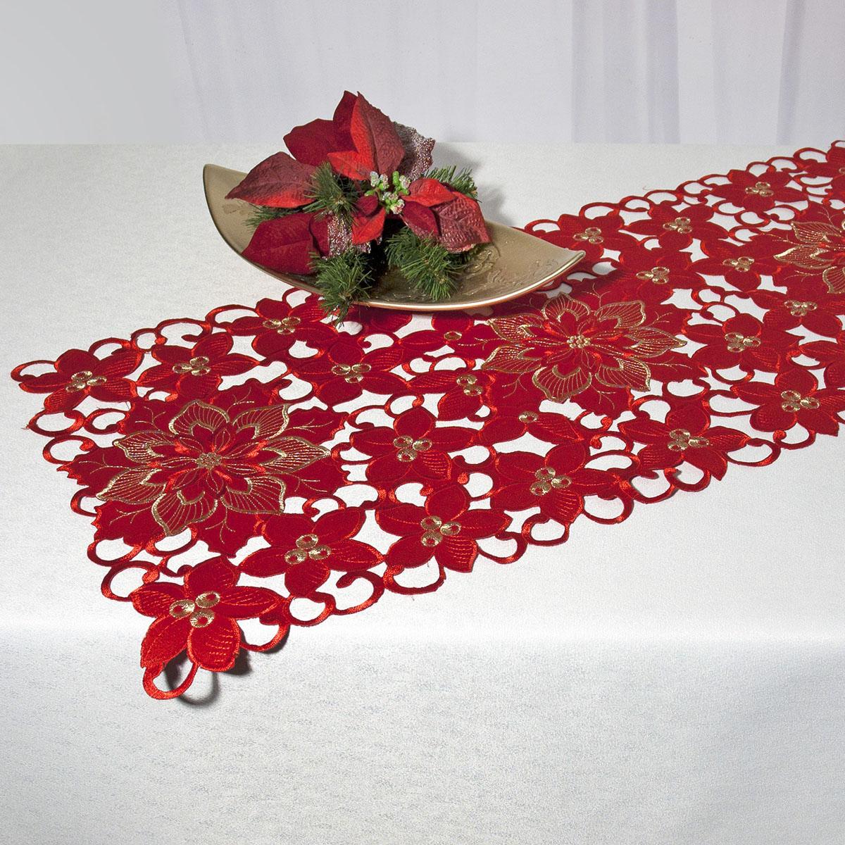 Дорожка для декорирования стола Schaefer, прямоугольная, цвет: красный, 40 x 110 см 07482-23307482-233Дорожка Schaefer выполнена из высококачественного полиэстера и оформлена в технике ришелье. Вы можете использовать дорожку для декорирования стола, комода или журнального столика. Благодаря такой дорожке вы защитите поверхность мебели от воды, пятен и механических воздействий, а также создадите атмосферу уюта и домашнего тепла в интерьере вашей квартиры. Изделия из искусственных волокон легко стирать: они не мнутся, не садятся и быстро сохнут, они более долговечны, чем изделия из натуральных волокон. Изысканный текстиль от немецкой компании Schaefer - это красота, стиль и уют в вашем доме. Дорожка органично впишется в интерьер любого помещения, а оригинальный дизайн удовлетворит даже самый изысканный вкус. Дарите себе и близким красоту каждый день!