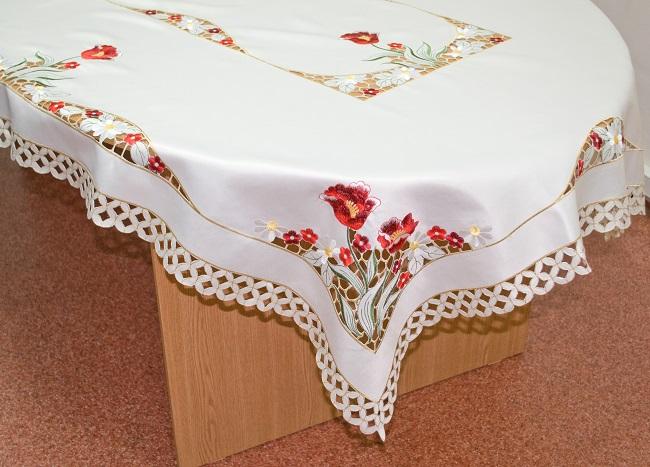Скатерть Schaefer, прямоугольная, цвет: молочный, красный, 130 x 180 см. 07380-46007380-460