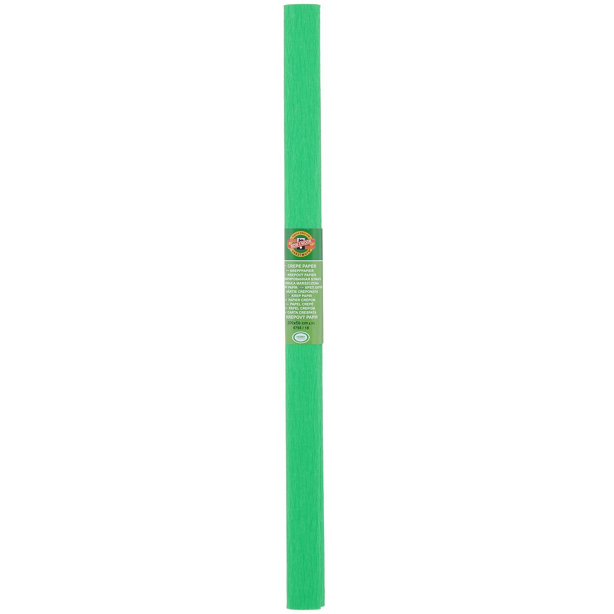 Бумага гофрированная Koh-I-Noor, цвет: зеленый, 50 см x 2 м9755/18Крепированная бумага Koh-I-Noor - прекрасный материал для декорирования, изготовления эффектной упаковки и различных поделок. Бумага прекрасно держит форму, не пачкает руки, отлично крепится и замечательно подходит для изготовления праздничной упаковки для цветов.