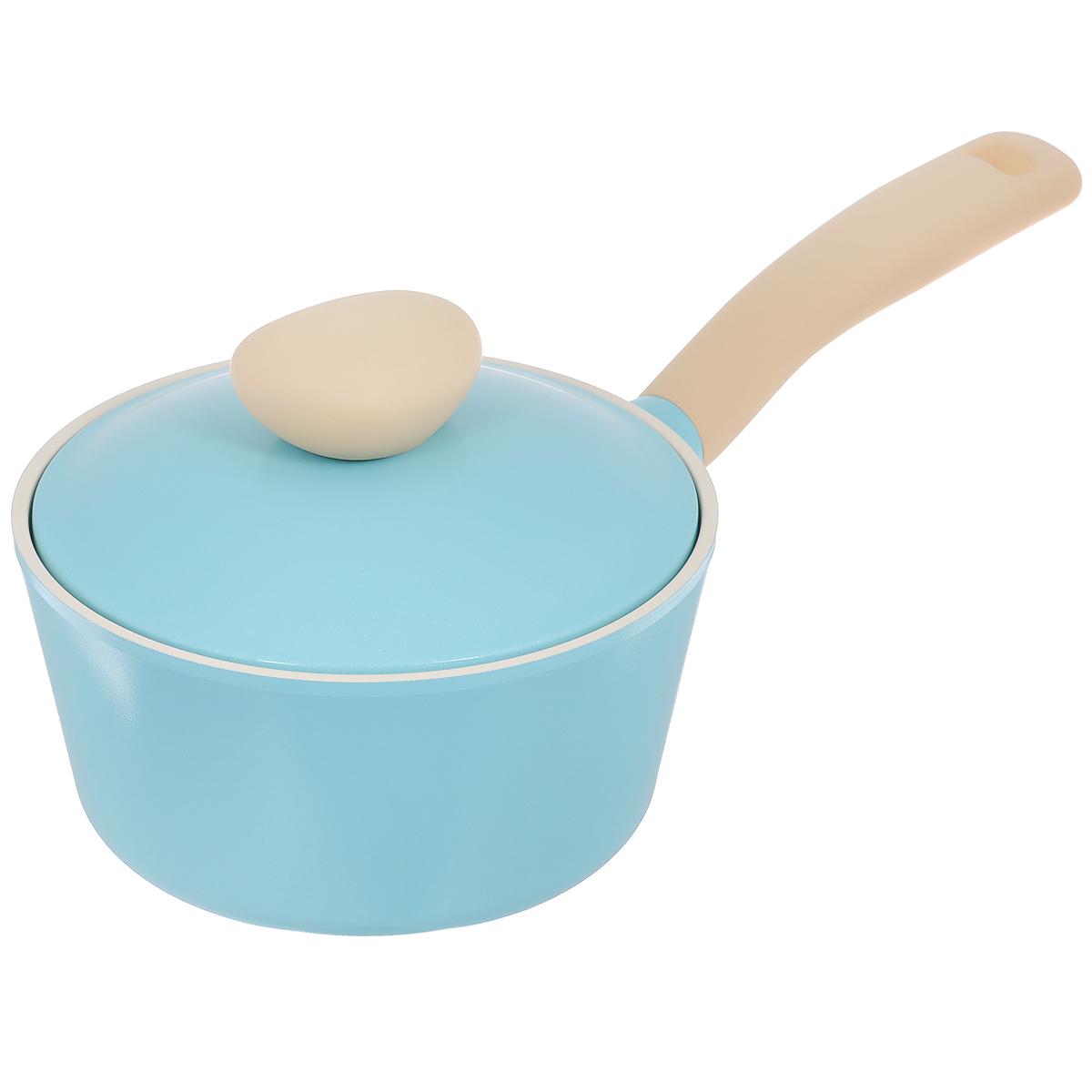 """Ковш Frybest """"Round"""" с крышкой, с керамическим покрытием, цвет: голубой, 1,8 л"""