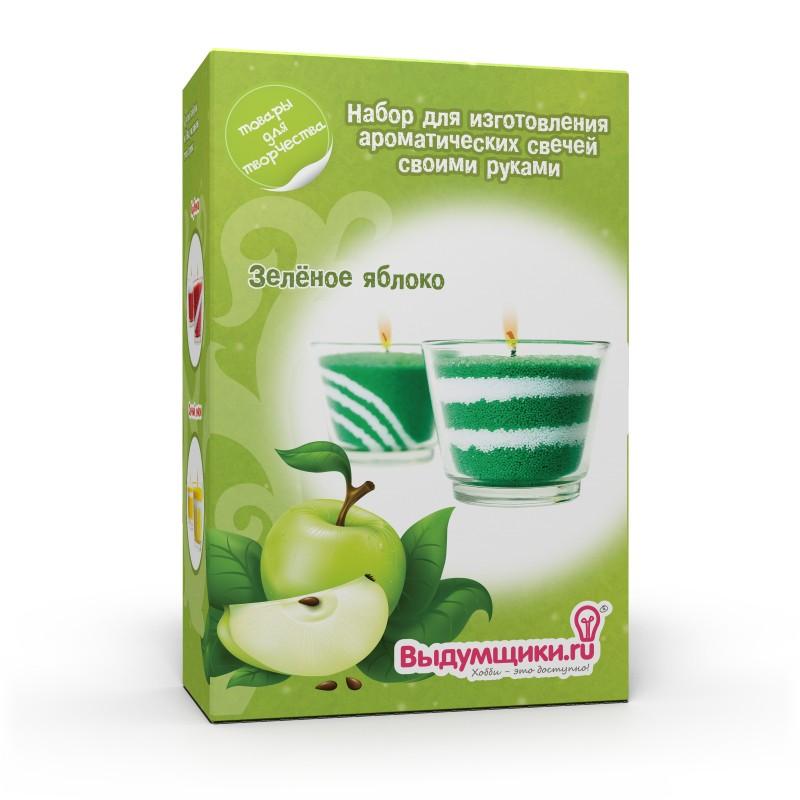 Набор для изготовления ароматических свечей Выдумщики Зеленое яблоко2700770019575Набор для изготовления свечей Зеленое яблоко поможет вам самостоятельно создать свечу с оригинальным приятным ароматом. В набор входит: - стеклянный подсвечник (2 шт); - свечной порошок (зеленый, белый); - ароматизатор (Зеленое яблоко, 10 мл); - вощеный фитиль (2 шт); - ложечка для дозировки свечного порошка (1 шт); - палочка для рисования узоров (1 шт); - подробная инструкция на русском языке. Ароматизированная свеча, сделанная своими руками, послужит прекрасным подарком и наполнит чудесным ароматом ванную комнату.