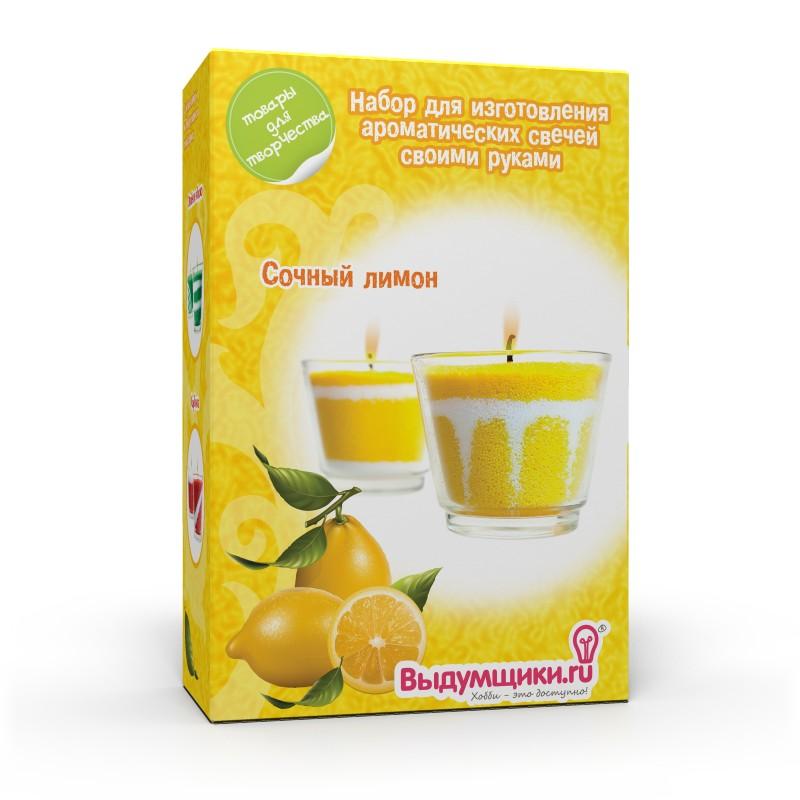 Набор для изготовления ароматических свечей Сочный лимон. 27007700195992700770019599Набор для изготовления свечей Сочный лимон поможет вам самостоятельно создать свечу с оригинальным приятным ароматом. С помощью него вы сможете изготовить интересную свечу, которая послужит прекрасным подарком или наполнит чудесным ароматом ванную комнату. В набор входит: - стеклянный подсвечник - 2 шт, - свечной порошок - 2 цвета, - ароматизатор (лимон) - 10 мл, - вощеный фитиль - 2 шт, - ложечка для дозировки свечного порошка, - палочка для рисования узоров, - подробная инструкция на русском языке.