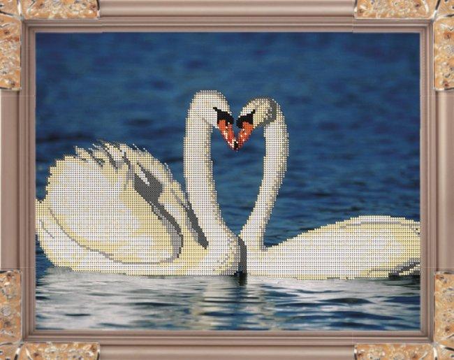 Набор для вышивания бисером Светлица Лебеди, 38 см х 29,7 смК-015т