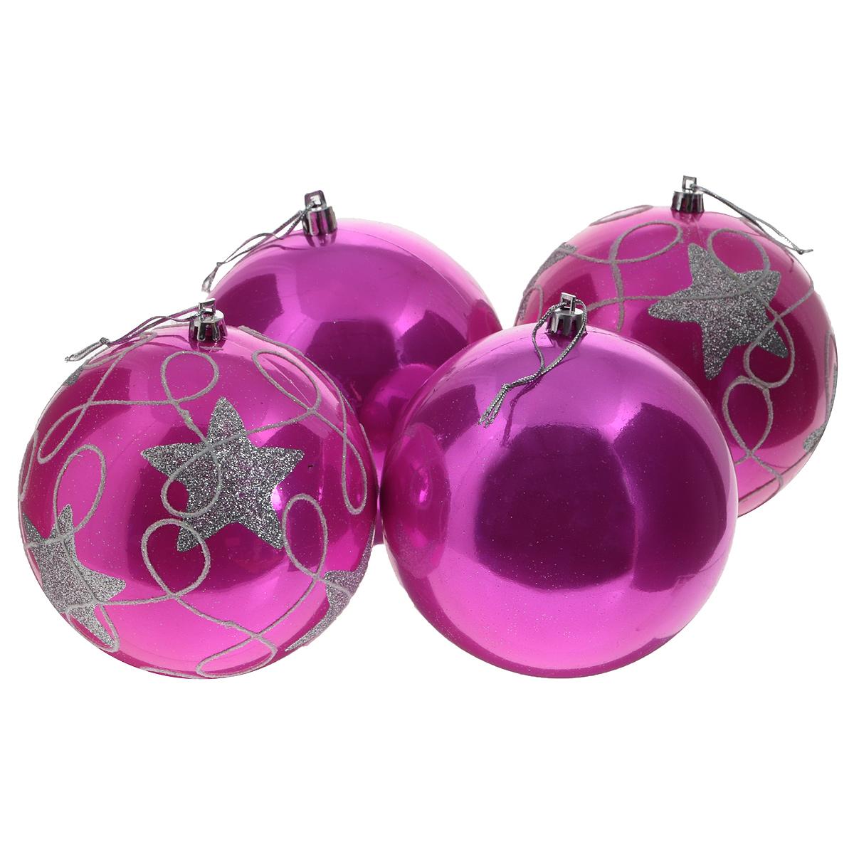 Набор новогодних подвесных украшений Sima-land Шар, цвет: розовый, диаметр 12 см, 4 шт813064Набор новогодних подвесных украшений Sima-land Шар прекрасно подойдет для праздничного декора новогодней ели. Набор состоит из 4 пластиковых шаров: 2 из них однотонные, остальные 2 украшены изображением звездочек и завитков, покрытых серебристым глиттером. Для удобного размещения на елке для каждого шара предусмотрена текстильная петелька. Елочная игрушка - символ Нового года. Она несет в себе волшебство и красоту праздника. Создайте в своем доме атмосферу веселья и радости, украшая новогоднюю елку нарядными игрушками, которые будут из года в год накапливать теплоту воспоминаний. Коллекция декоративных украшений принесет в ваш дом ни с чем несравнимое ощущение волшебства! Откройте для себя удивительный мир сказок и грез. Почувствуйте волшебные минуты ожидания праздника, создайте новогоднее настроение вашим дорогим и близким.