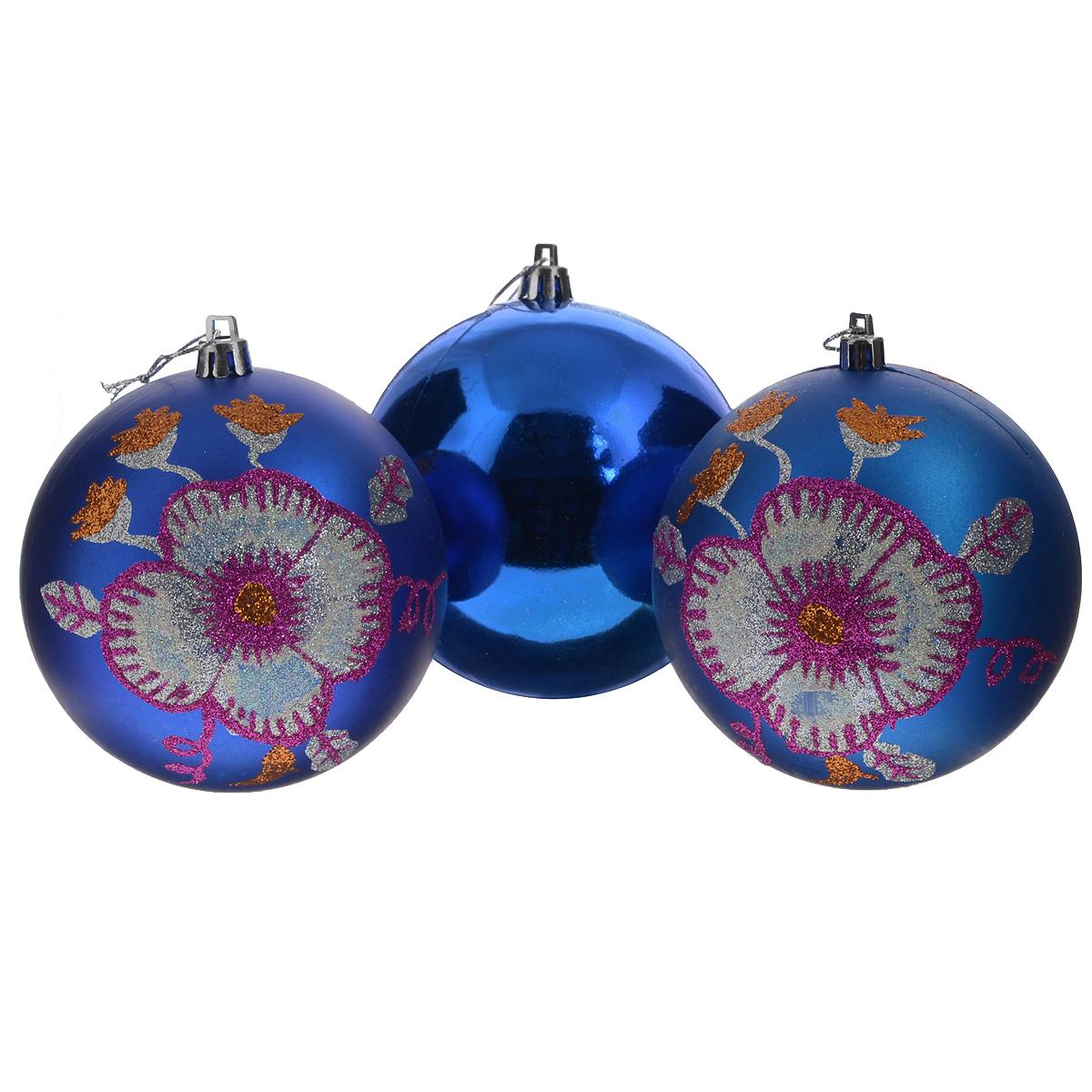 Набор новогодних подвесных украшений Sima-land Шар, цвет: синий, диаметр 10 см, 3 шт. 733908733908