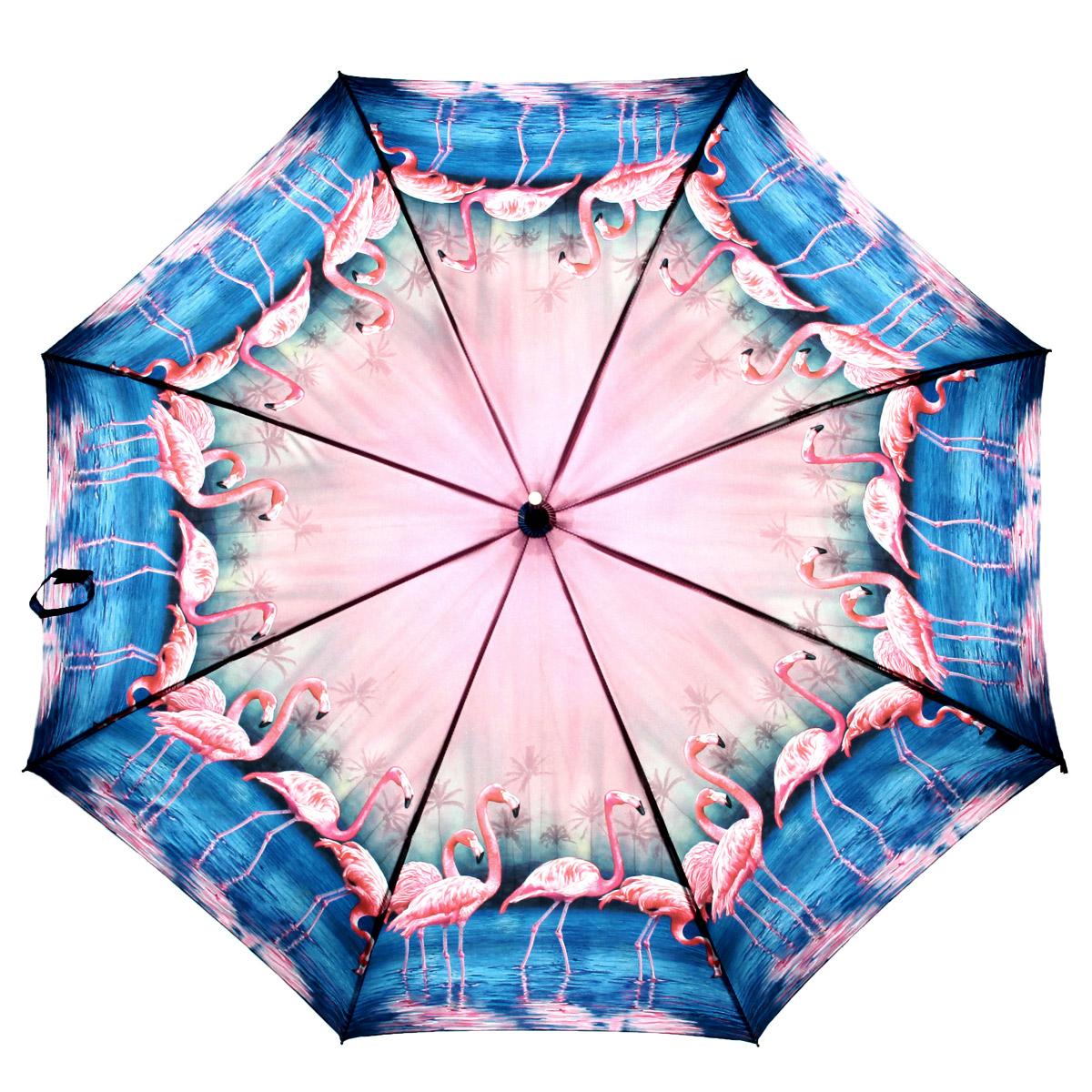 Зонт-трость Flioraj Фламинго, полуавтомат, голубой, розовый001-3 FJЭлегантный полуавтоматический зонт-трость Flioraj Фламинго даже в ненастную погоду позволит вам подчеркнуть свою индивидуальность. Каркас зонта из анодированной стали состоит из восьми карбоновых спиц, а рукоятка закругленной формы разработана с учетом требований эргономики и покрыта искусственной кожей. Зонт снабжен системой Антиветер. Зонт имеет полуавтоматический механизм сложения: купол открывается нажатием кнопки на рукоятке, а закрывается вручную до характерного щелчка. Купол зонта выполнен из прочного полиэстера с тефлоновой пропиткой и оформлен оригинальным изображением фламинго на фоне залива. Закрытый купол фиксируется хлястиком на липучке. Такой зонт не только надежно защитит вас от дождя, но и станет стильным аксессуаром.