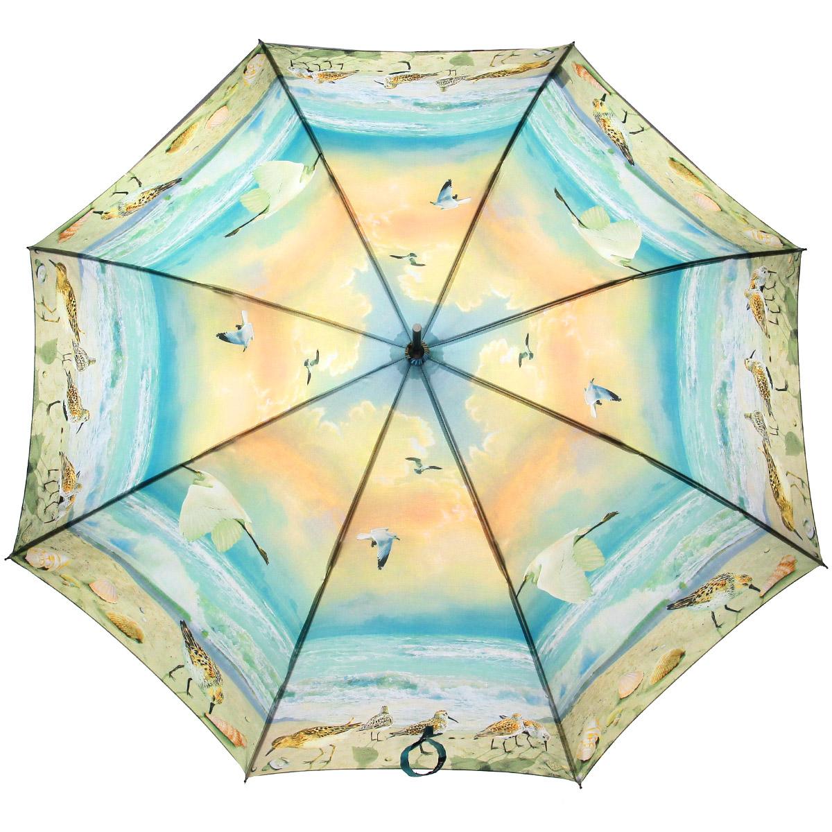 Зонт-трость Flioraj Пляж, полуавтомат, голубой, желтый001-11 FJЭлегантный полуавтоматический зонт-трость Flioraj Пляж даже в ненастную погоду позволит вам подчеркнуть свою индивидуальность. Каркас зонта из анодированной стали состоит из восьми карбоновых спиц, а рукоятка закругленной формы разработана с учетом требований эргономики и покрыта искусственной кожей. Зонт снабжен системой Антиветер. Зонт имеет полуавтоматический механизм сложения: купол открывается нажатием кнопки на рукоятке, а закрывается вручную до характерного щелчка. Купол зонта выполнен из прочного полиэстера с тефлоновой пропиткой и оформлен оригинальным изображением чаек на фоне пляжа. Закрытый купол фиксируется хлястиком на липучке. Такой зонт не только надежно защитит вас от дождя, но и станет стильным аксессуаром.