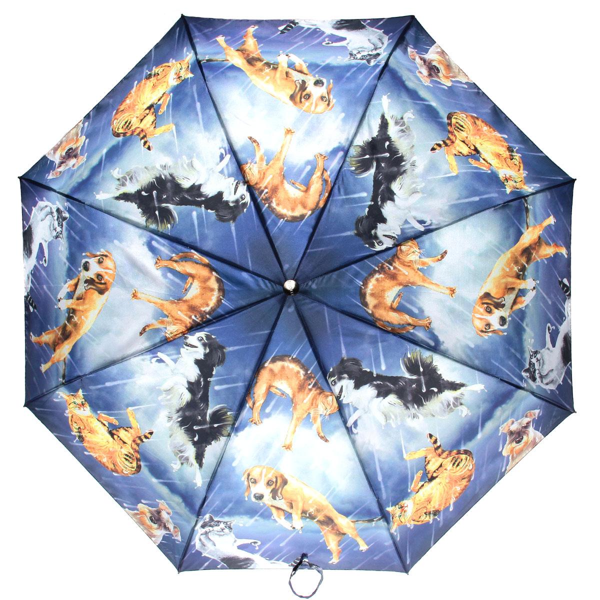 Зонт женский Flioraj Коты и собачки, автомат, 3 сложения, синий, оранжевый003-12 FJСтильный автоматический зонт Flioraj Коты и собачки в 3 сложения даже в ненастную погоду позволит вам оставаться стильной и элегантной. Каркас зонта из анодированной стали состоит из восьми карбоновых спиц, оснащен удобной прорезиненной рукояткой. Карбоновые спицы помогут выдержать натиск ураганного ветра. Зонт снабжен системой антиветер. Зонт имеет полный автоматический механизм сложения: купол открывается и закрывается нажатием кнопки на рукоятке, стержень складывается вручную до характерного щелчка, благодаря чему открыть и закрыть зонт можно одной рукой, что чрезвычайно удобно при входе в транспорт или помещение. Купол зонта выполнен из прочного полиэстера и оформлен оригинальным изображением собак и кошек. Закрытый купол фиксируется хлястиком на кнопке. На рукоятке для удобства есть небольшой шнурок-петля, позволяющий надеть зонт на руку тогда, когда это будет необходимо. К зонту прилагается чехол.