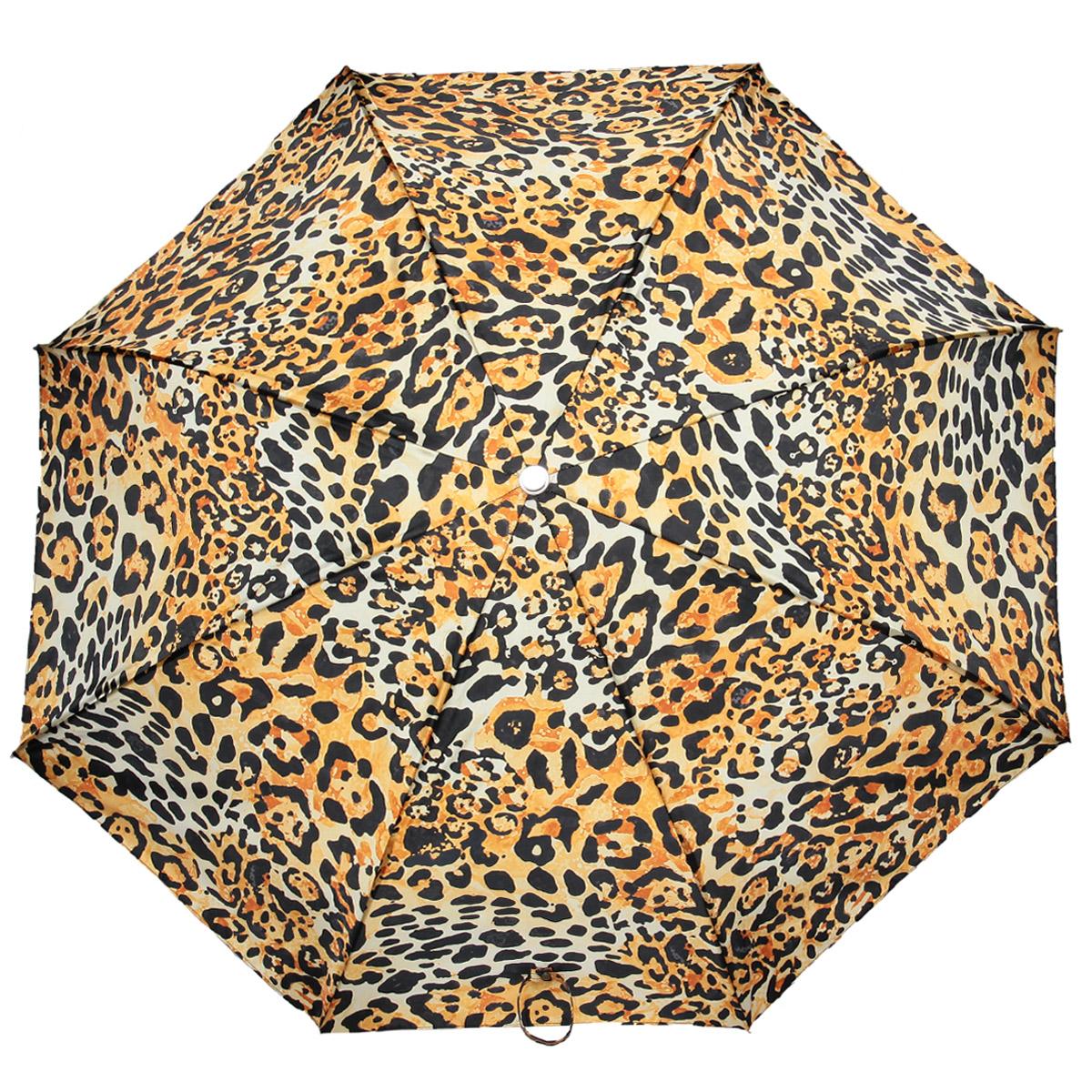 Зонт женский Pasotti, автомат, 3 сложения, леопардовый261-56124-1Стильный автоматический зонт Pasotti в 3 сложения даже в ненастную погоду позволит вам оставаться стильной и элегантной. Рукоятка разработана с учетом требований эргономики и выполнена из металла. Каркас зонта из стали состоит из восьми карбоновых спиц. Зонт имеет полный автоматический механизм сложения: купол открывается и закрывается нажатием кнопки на рукоятке, стержень складывается вручную до характерного щелчка, благодаря чему открыть и закрыть зонт можно одной рукой, что чрезвычайно удобно при входе в транспорт или помещение. Купол зонта выполнен из прочного полиамида и оформлен леопардовым принтом. Закрытый купол фиксируется хлястиком на кнопке. На рукоятке для удобства есть небольшой шнурок-петля, позволяющий надеть зонт на руку тогда, когда это будет необходимо. Компактные размеры зонта в сложенном виде позволят ему без труда поместиться в сумочке и не доставят никаких проблем во время переноски. К зонту прилагается чехол.