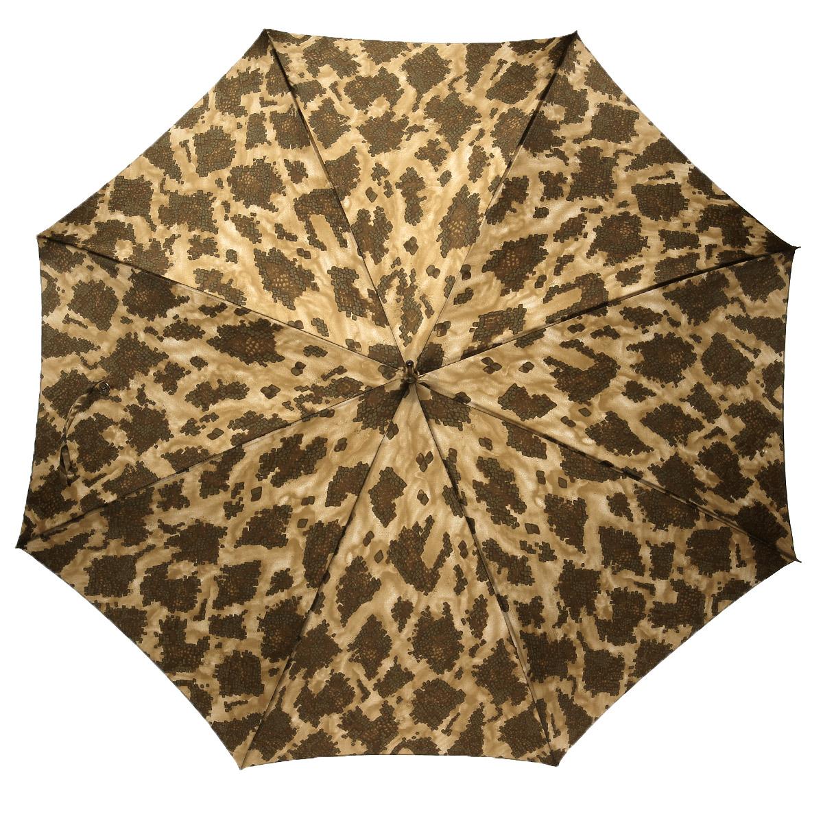 Зонт-трость Pasotti, полуавтомат, бежевый20-1410-61-V10Стильный полуавтоматический зонт-трость Pasotti даже в ненастную погоду позволит вам оставаться элегантной. Каркас зонта из стали состоит из восьми спиц. Рукоятка удобной закругленной формы выполнена из стали с изящным орнаментом и оформлена стразами. Зонт имеет полуавтоматический механизм сложения: купол открывается нажатием кнопки на рукоятке, а закрывается вручную до характерного щелчка. Купол зонта выполнен из прочного полиамида и оформлен принтом под чешую. Закрытый купол фиксируется хлястиком на пуговицу. Такой зонт не только надежно защитит вас от дождя, но станет стильным аксессуаром и позволит вам подчеркнуть свою индивидуальность.