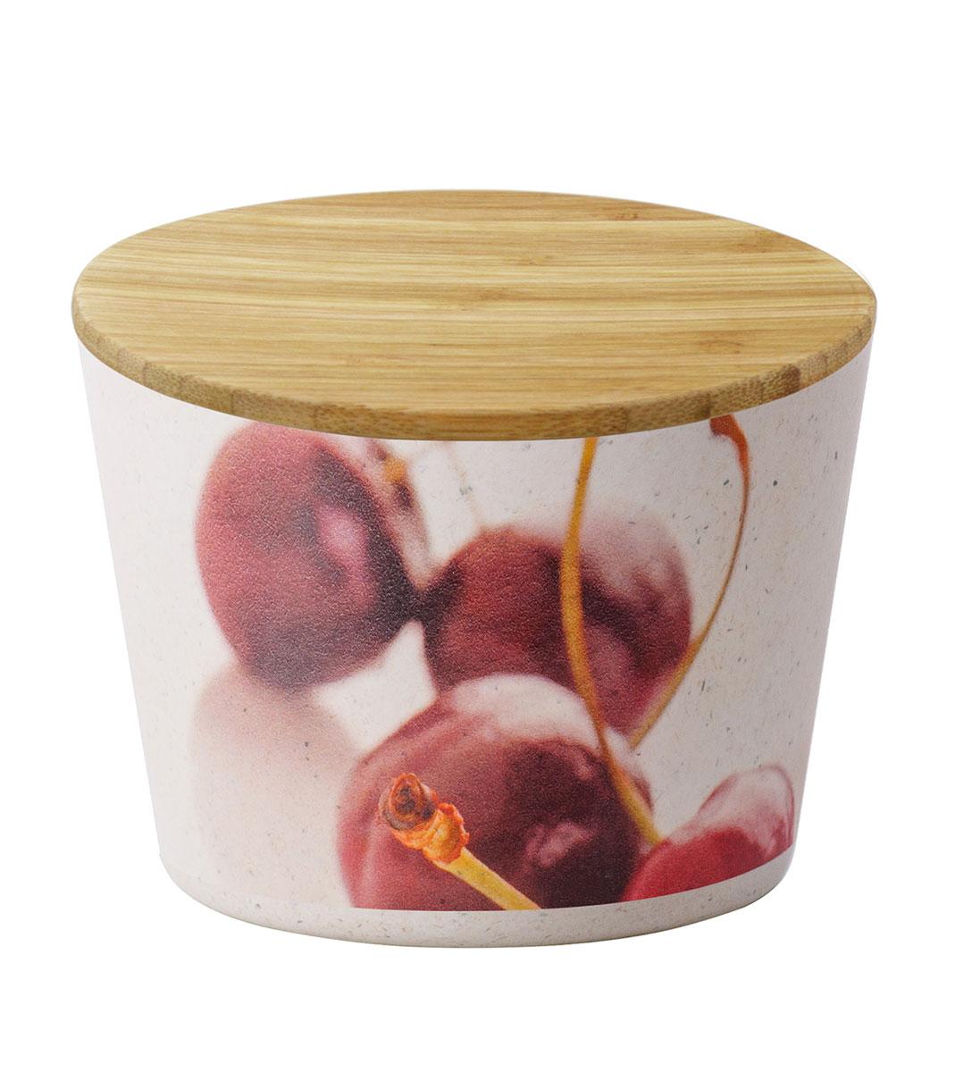 Банка для сыпучих продуктов Regent Inox Bamboo, цвет: бежевый, 0,65 л93-BP-V09-10Банка для сыпучих продуктов Regent Inox Bamboo изготовлена из прессованных бамбуковых волокон и оформлена изображением вишенок. Бамбук обладает натуральными антибактериальными свойствами, имеет высокую прочность и долговечность использования. Не расслаивается, не деформируется и не впитывает запахи. Материал полностью разлагается в земле после утилизации, не вредит окружающей среде и имеет температуру эксплуатации от -20 до +100 °C. Банка для сыпучих продуктов Regent Inox Bamboo оснащена плотно закрывающейся крышкой с термоусадкой. Благодаря этому внутри сохраняется герметичность, и продукты дольше остаются свежими. Изделие предназначено для хранения различных сыпучих продуктов: круп, чая, сахара, орехов и т.д. Функциональная и вместительная, такая банка станет незаменимым аксессуаром на любой кухне. Не рекомендуется использовать в СВЧ печах и в посудомоечной машине.