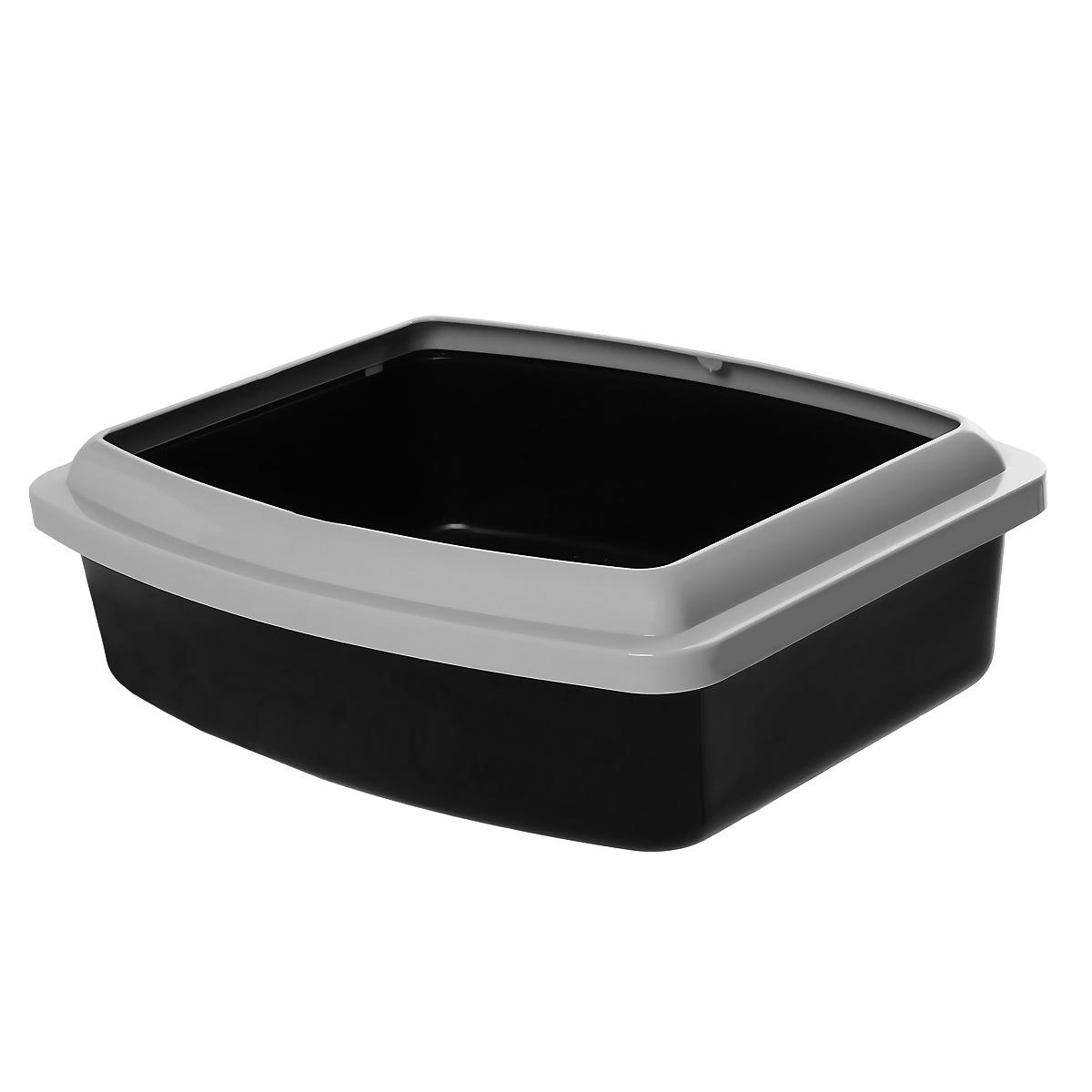 """Туалет для кошек Savic """"Oval Trays"""", с бортом, цвет: черный, 48 х 39 см"""