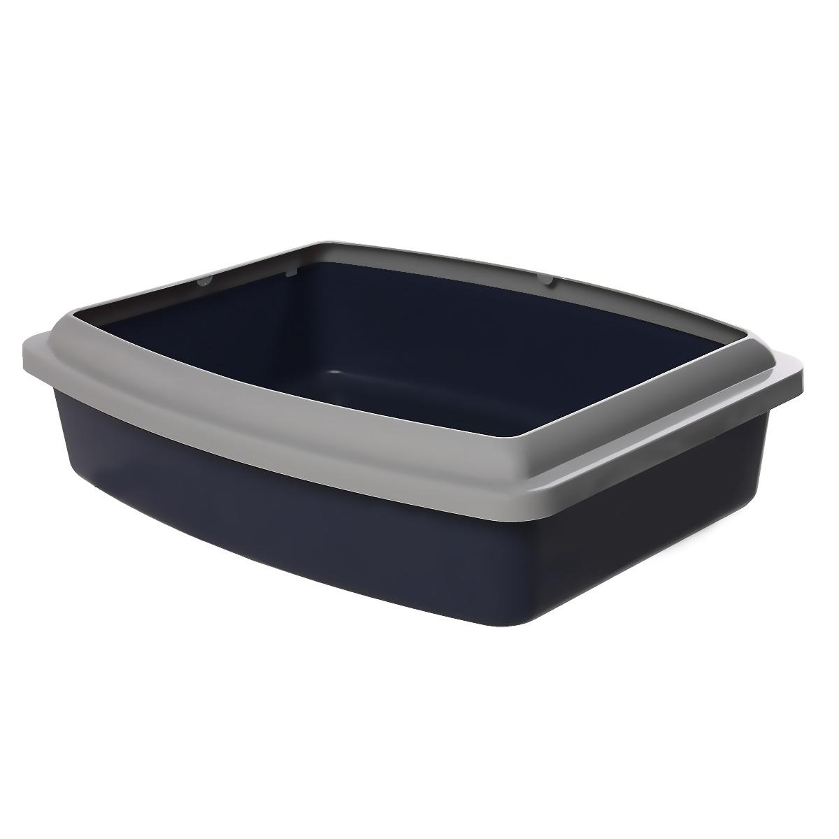Туалет для кошек Savic Oval Trays Jumbo, с бортом, цвет: темно-синий, серый, 56 х 44 см209Туалет для кошек Savic Oval Trays Jumbo изготовлен из качественного прочного пластика. Высокий цветной борт, прикрепленный по периметру лотка, удобно защелкивается и предотвращает разбрасывание наполнителя. Это самый простой в употреблении предмет обихода для кошек и котов.