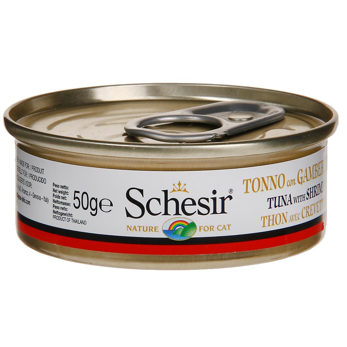 Консервы для кошек Schesir, с тунцом и креветками, 50 г132.С103Консервы Schesir - это полнорационный корм для кошек. Состав: тунец (50% минимум), мясо креветок (6% минимум), овощное желе (добавка, разрешенная ЕС). Анализ состава: белок 12%, масла и жиры 1,5%, клетчатка 0,5%, минеральные вещества 1%, влажность 85%. Витамины: А - 1325МЕ, D3 - 110МЕ, Е - 15 мг, таурин 160 мг. Вес: 50 г.