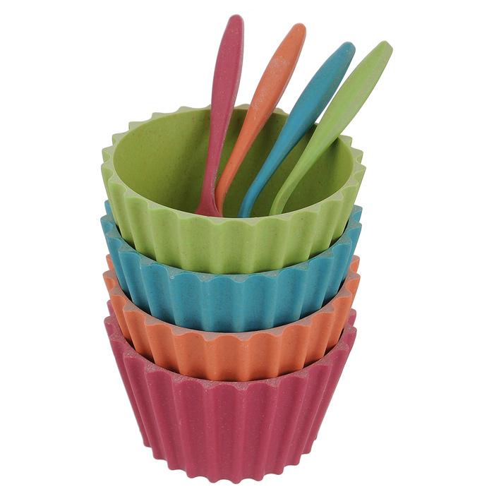 Набор креманок с ложками, 8 предметовHK50194BFНабор состоящий из четырех креманок и четырех ложечек, разного цвета, выполнен из экологически чистого материала - бамбука. Креманки выполнены из нежаропрочного материала и не предназначены для использования при высоких температурах. Стороны креманок имеют рифленую поверхность. Креманки предназначены для красивой сервировки мороженого, пудинга и других десертов. Изделия нельзя мыть в посудомоечной машине. Набор креманок элегантно украсит ваш стол и станет оригинальным подарком к любому празднику.