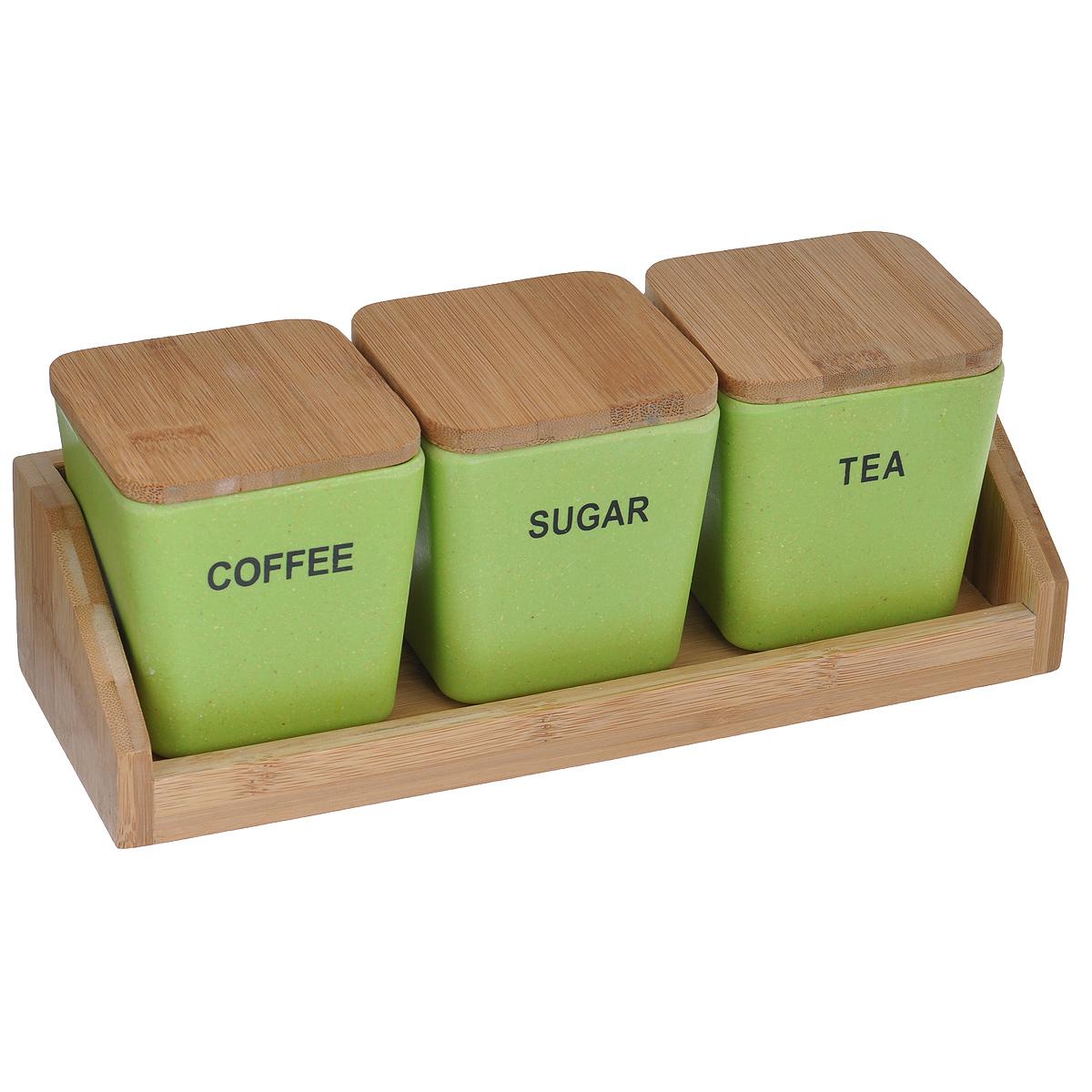 Набор емкостей для хранения сыпучих продуктов из бамбука, на подставке, 3 штBM5002BF-APНабор состоит из трех небольших емкостей, выполненных из натурального бамбука зеленого цвета. Емкости оснащены крышками и оформлены надписями Coffee, Sugar, Tea. Крышки имеют силиконовую вставку для более плотного закрывания емкостей. В комплекте имеется подставка для удобного размещения емкостей. Такой набор прекрасно подойдет для хранения чая, кофе и сахара. Оригинальный современный дизайн и функциональность сделают этот набор достойным дополнением к вашему кухонному инвентарю. Размер емкости: 7,5 х 7,5 х 9 см.