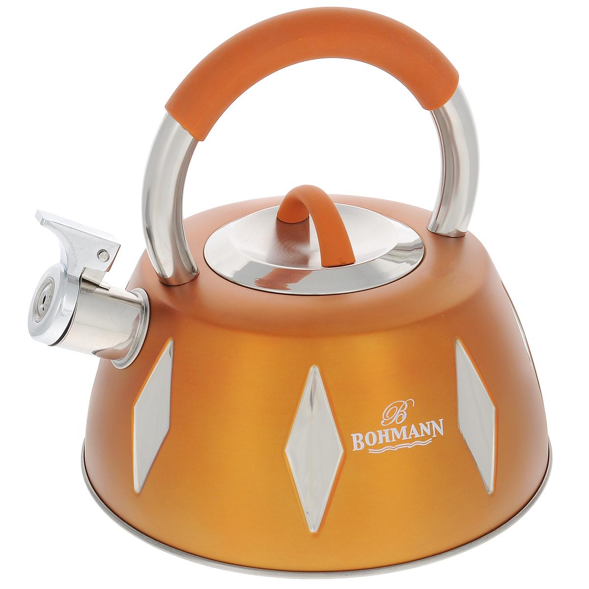 Чайник Bohmann со свистком, цвет: желтый, 3,5 л. BH - 9948BH - 9948 желтыйЧайник Bohmann изготовлен из высококачественной нержавеющей стали с цветным матовым покрытием. Нержавеющая сталь - материал, из которого в течение нескольких десятилетий во всем мире производятся столовые приборы, кухонные инструменты и различные аксессуары. Этот материал обладает высокой стойкостью к коррозии и кислотам. Прочность, долговечность и надежность этого материала, а также первоклассная обработка обеспечивают практически неограниченный запас прочности и неизменно привлекательный внешний вид. Чайник оснащен удобной ручкой с цветной силиконовой вставкой, что предотвращает появление ожогов и обеспечивает безопасность использования. Носик чайника имеет откидной свисток, который подскажет, когда вода закипела. Можно использовать на газовых, электрических, галогеновых, стеклокерамических, индукционных плитах. Можно мыть в посудомоечной машине.