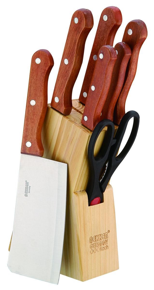 Набор ножей Bekker, 8 предметов. BK-115BK-115Набор Bekker состоит из 6 ножей (топорик, нож поварской, нож для тонкой нарезки, нож разделочный, нож универсальный и нож для очистки), ножниц и подставки. Лезвия ножей выполнены из высококачественной нержавеющей стали, ручки - из дерева. Сталь устойчива к коррозии, отличается прочностью и отсутствием вредных соединений при контакте с продуктами. Режущая кромка лезвий устойчива к притуплению. В набор входит: - Топорик. Имеет очень толстое и широкое лезвие. Центр тяжести смещен вперед. Используется для разрубания замороженного мяса с костями или птицы. - Поварской нож. Имеет тяжелую ручку, толстое, широкое и длинное лезвие с центрированным острием. Все это позволяет рубить овощи, зелень, резать мороженое мясо, рыбу и птицу. - Нож для тонкой нарезки. Нож с длинным, нешироким, но достаточно толстым лезвием. Используется для нарезки сырого и вареного мяса, разделки курицы, рыбы. Им легко нарезать арбуз, дыню. - Нож разделочный. Нож с нешироким...