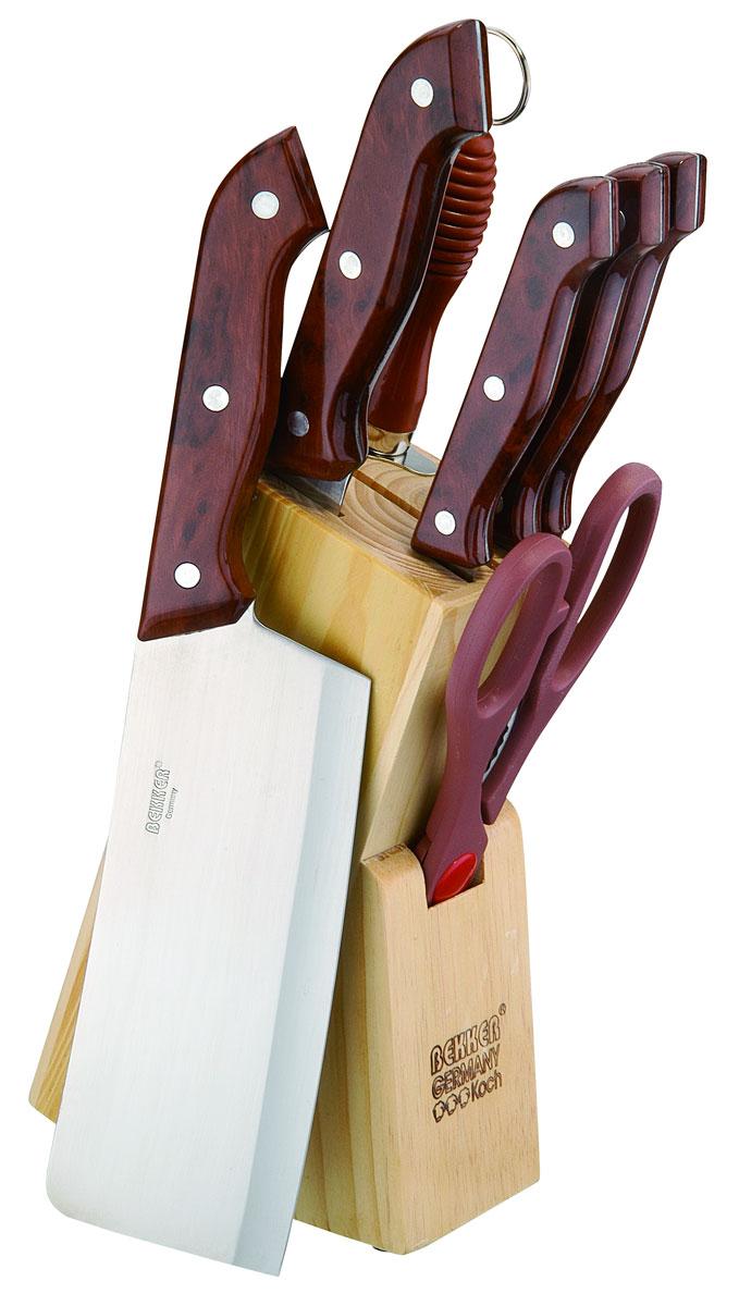 Набор ножей Bekker, 8 предметов. BK-139BK-139Набор Bekker состоит из 5 ножей (топорик, нож для резки хлеба, нож разделочный, нож универсальный и нож для очистки), ножниц, мусата и подставки. Лезвия ножей выполнены из высококачественной нержавеющей стали с лазерной заточкой, ручки - из пластика с рисунком под дерево. Сталь устойчива к коррозии, отличается прочностью и отсутствием вредных соединений при контакте с продуктами. Режущая кромка лезвий устойчива к притуплению. В набор входит: - Топорик. Имеет очень толстое и широкое лезвие. Центр тяжести смещен вперед. Используется для разрубания замороженного мяса с костями или птицы. - Нож для резки хлеба. Нож имеет широкое клиновидное лезвие с зазубренной заточкой. Подходит для различной выпечки и хлебобулочных изделий. - Нож разделочный. Нож с нешироким лезвием, удобен для отделения мяса от костей и сухожилий, часто также используется для нарезки различных продуктов. - Нож универсальный. Многофункциональный нож, подходит для нарезки овощей,...