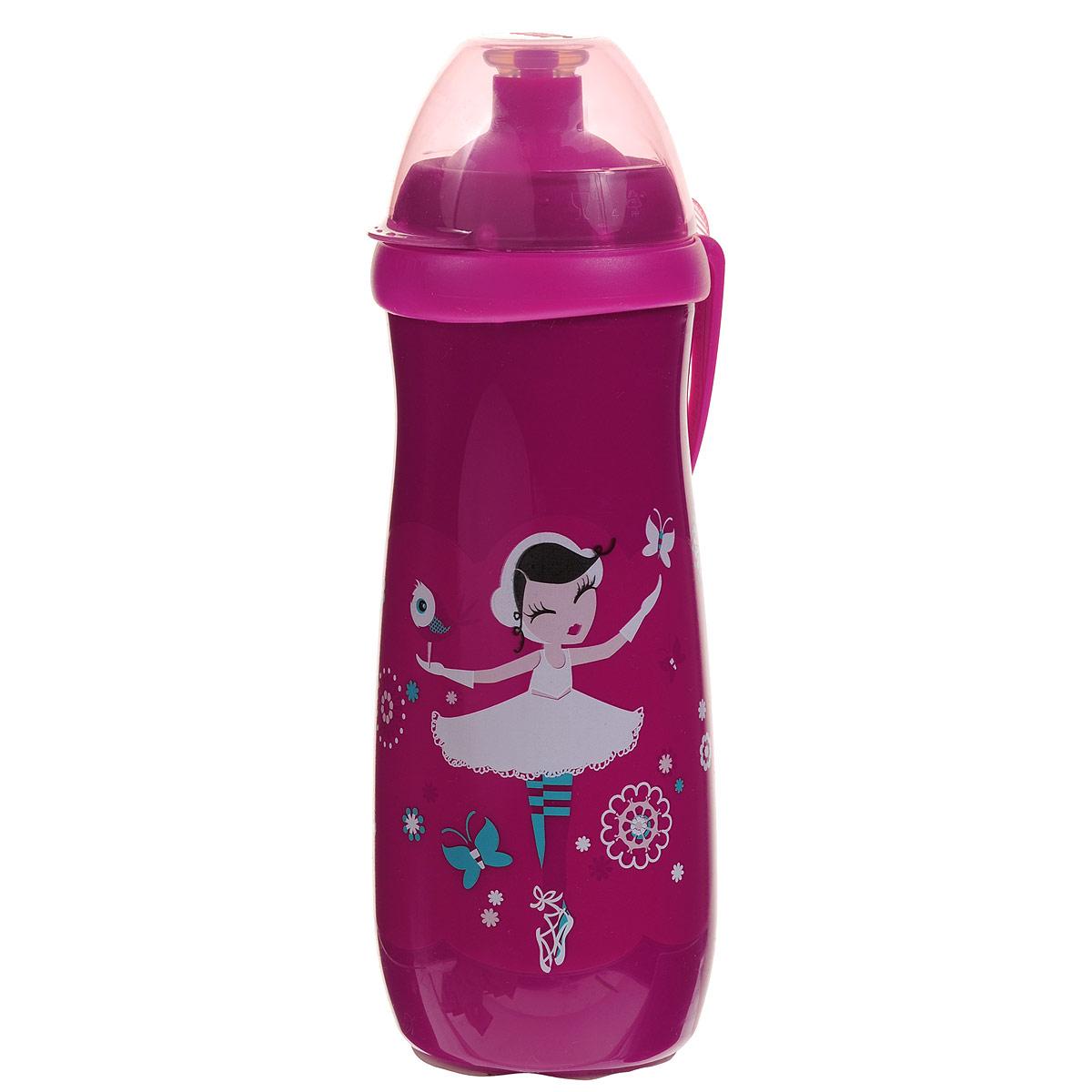 Поильник NUK Sports Cup, с насадкой тяни-толкай, 450 мл, от 36 месяцев, цвет: малиновый10750775_36 месПоильник NUK Sports Cup, изготовленный из прочного полипропилена (не содержит бисфенол A), разработан специально для детей от 36 месяцев. Поильник имеет мягкую насадку для питья тяни-толкай, которая не протекает, даже если поильник перевернуть вверх дном, и защелкивающийся прозрачный колпачок, обеспечивающий гигиеничность. Благодаря ультра-легкому и прочному эргономичному дизайну, бутылочку-поильник удобно держать как взрослому, так и ребенку, а пластиковая клипса позволит легко и надежно прикрепить бутылочку к коляске, сумке или одежде. Симпатичные рисунки привлекут внимание крохи и подарят радость и яркие впечатления.