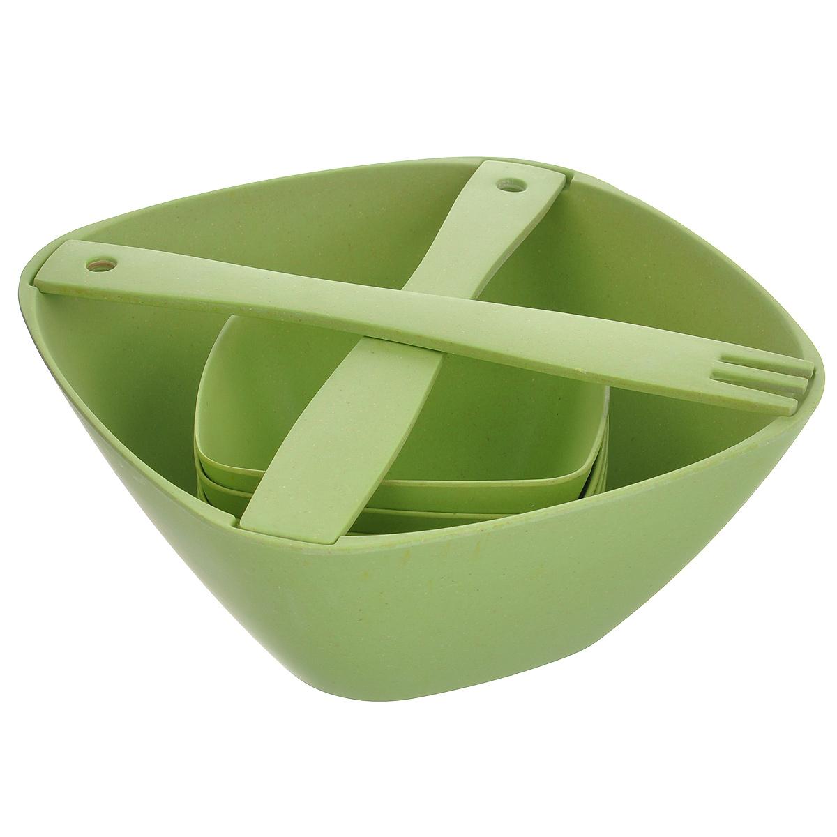 Набор для салата, салатница+4 салатника+лопаткиHK50341BF(S/7)Набор состоит из одного большого и четырех маленьких салатников, ложки-лопатки и вилки. Все предметы набора изготовлены из натурального бамбука. Такой набор будет отлично смотреться на вашей кухне и порадует своей функциональностью.