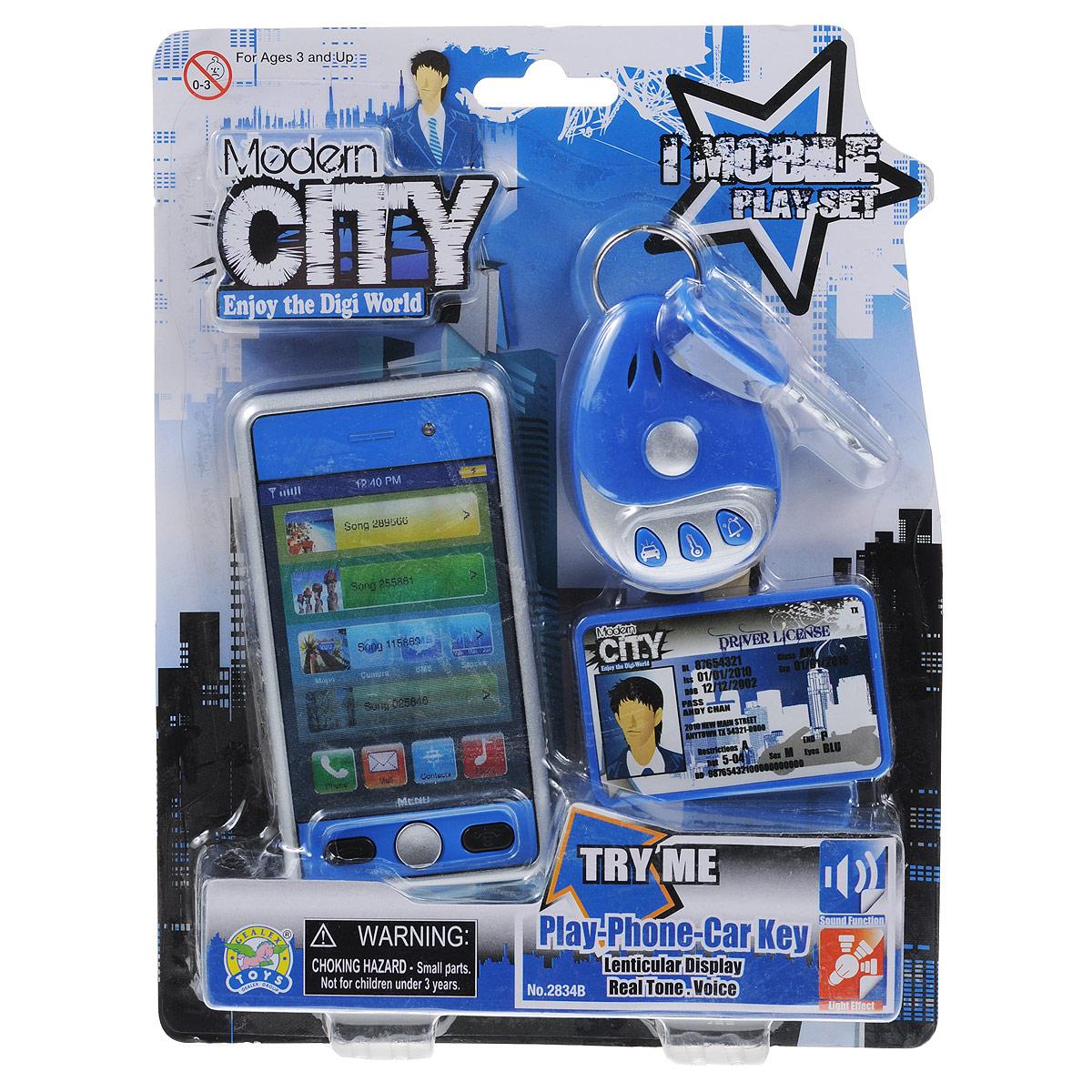 Игровой набор Modern City, цвет: синий2834B синийИгровой набор Modern City понравится любому мальчишке, мечтающему о машине! Он включает телефон с экраном, меняющим картинку, водительское удостоверение и кольцо с пультом управления сигнализацией и ключом от машины. Телефон оборудован тремя кнопками, при нажатии на которые ребенок услышит звуки камеры, вызова и его окончания. При воспроизведение мигает красная лампочка в верхней части телефона. На пульте управления сигнализацией находятся три кнопки, воспроизводящие звуки заводящегося мотора машины, включения/выключения сигнализации и сигнальной сирены. Ваш ребенок будет в восторге от такого подарка! Для работы телефона рекомендуется докупить 2 батарейки напряжением 1,5V типа АG13 (товар комплектуется демонстрационными). Для работы пульта управления сигнализацией рекомендуется докупить 2 батарейки напряжением 1,5V типа АG13 (товар комплектуется демонстрационными).