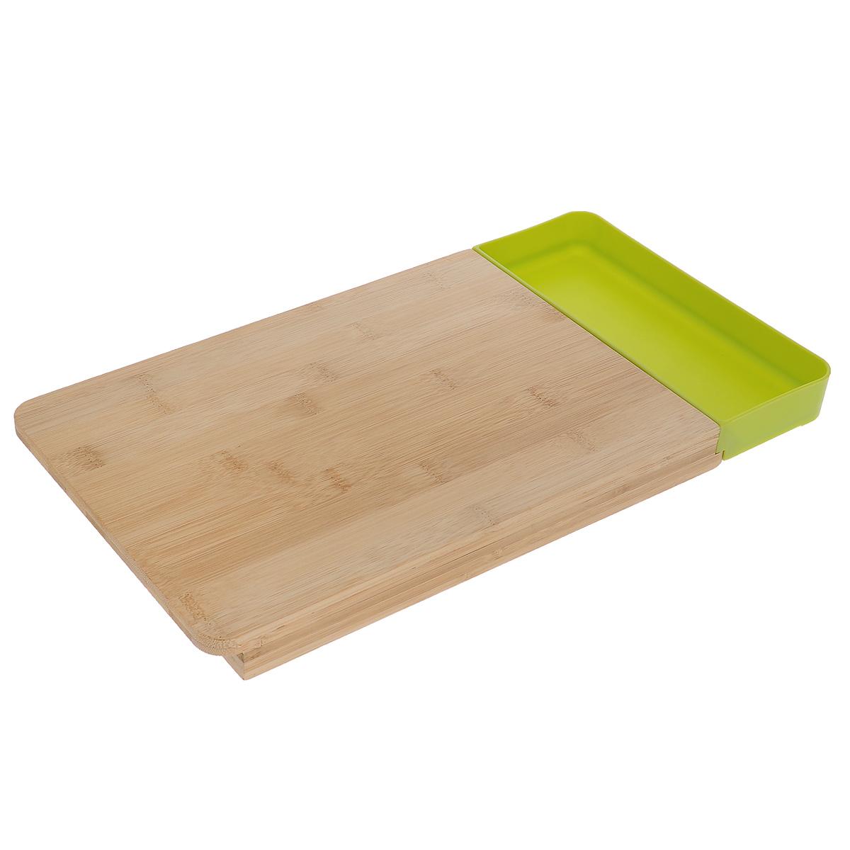 Доска разделочная, с контейнером, цвет: зеленыйFY00041-P GREENРазделочная доска выполнена из бамбукового волокна - экологически чистого материала, который не содержит примесей и токсинов, что важно для здоровья человека. Кроме того, это биоразлагаемый материал, который не вредит окружающей среде. Доска имеет дополнительный контейнер, который можно использовать как емкость для очисток, а так же как емкость для нарезанных продуктов. Такая доска идеально подойдет для дачи, летних заготовок.