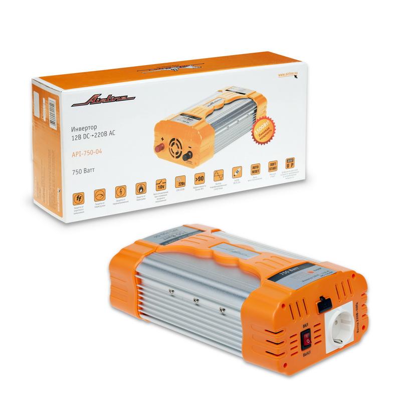 Инвертор Airline, 12В DC-220В AC, 750 ВтAPI-750-04Автомобильный преобразователь напряжения Airline (инвертор) позволяет получить переменное напряжение 220В - 50Гц от аккумулятора автомобиля. Инвертор предназначены для питания устройств с потребляемой мощностью до 750Вт, например: ноутбуков, видеокамер, DVD-плееров, зарядных устройств, электроинструментов, осветительных приборов и т.д. В инвертор встроено гнездо USB 5В для питания и зарядки мобильных устройств и гнездо прикуривателя для подключения устройств с питанием 12 вольт. Особенности: Защита от короткого замыкания. Защита от перегрузки. Защита от перегрева. Автоматическое отключение при снижении входного напряжения. Эффективность более 90%. Выход: модифицированная синусоида. Автоматическое восстановление. Мягкий старт. Цифровой дисплей входного напряжения и потребляемой мощности.