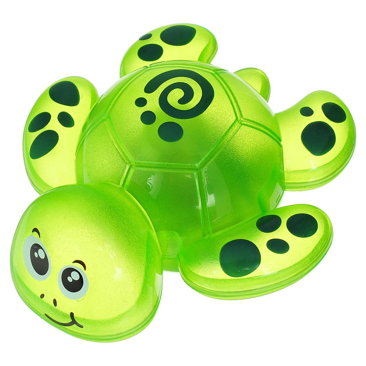 Игрушка для ванны Happy Kid Черепашка, со световым эффектом, цвет: зеленый4320_зеленыйЯркая игрушка Happy Kid Черепашка станет отличным подарком для любого ребенка, обожающего игры в ванной. С ней можно придумать массу замечательных игр во время купания. Она выполнена из прочного безопасного нетоксичного пластика в виде симпатичной черепашки с закругленными краями и четко прорисованными чертами мордашки: глазками, носиком, ротиком и бровками. Размер игрушки идеален для детской ладошки. Игрушка прекрасно держится на поверхности воды. Стоит только опустить черепашку в воду, как она начнет светиться, развлекая малыша. Игрушка Happy Kid Черепашка превратит купание в веселую игру, во время которой у крохи будут развиваться зрительные навыки и сенсомоторное восприятие, фантазия и воображение. Рекомендуется докупить 3 батарейки напряжением 1,5V типа LR44 (товар комплектуется демонстрационными).