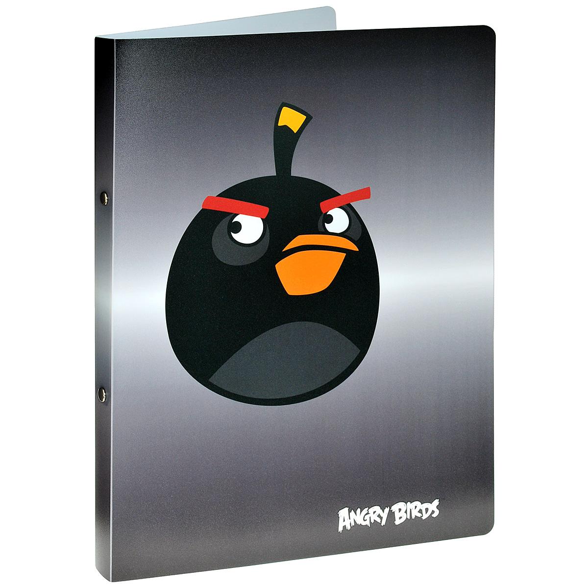 Centrum Папка на кольцах Angry Birds цвет серый84698Папка на кольцах Centrum Angry Birds предназначена для хранения и транспортировки бумаг или документов формата А4. Папка изготовлена из плотного пластика и оформлена изображением персонажа всеми любимой игры Angry Birds. Кольцевой механизм выполнен из высококачественной стали.