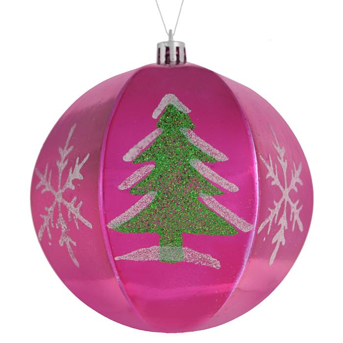Набор новогодних подвесных украшений Sima-land Шар, цвет: малиновый, диаметр 10 см, 2 шт. 799470799470 малиновый