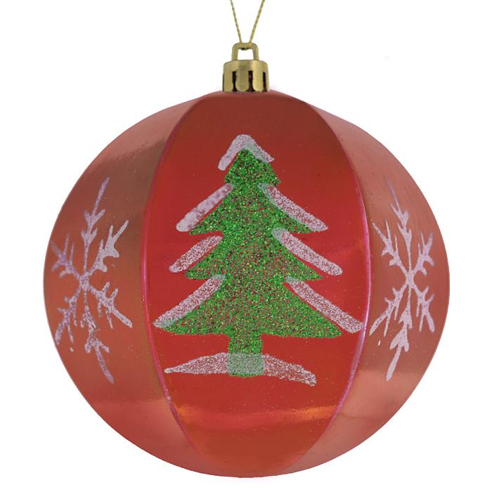 Набор новогодних подвесных украшений Sima-land Шар, цвет: красный, диаметр 10 см, 2 шт. 799470799470
