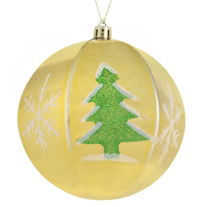 Набор новогодних подвесных украшений Sima-land Шар, цвет: золотистый, диаметр 10 см, 2 шт. 799470799470