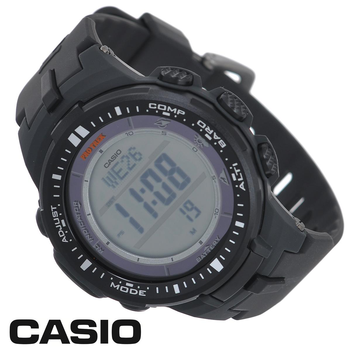 Часы мужские наручные Casio Protrek, цвет: черный, серый. PRW-3000-1EPRW-3000-1EСтильные кварцевые часы Protrek от японского брэнда Casio - это яркий функциональный аксессуар для современных людей, которые стремятся выделиться из толпы и подчеркнуть свою индивидуальность. Часы выполнены в спортивном стиле. Корпус выполнен из пластика и металлических элементов. Циферблат подсвечивается светодиодом, при недостаточном освещении во время поворота запястья в сторону лица подсветка включается автоматически. Ремешок из пластика имеет классическую застежку. Основные функции: - 5 будильников, один с функцией Snooze, ежечасный сигнал; - автоматический календарь (число, день недели, месяц, год); - секундомер с точностью показаний 1/10 с и временем измерения 1000 ч; - мировое время; - таймер обратного отсчета от 1 мин до 24 ч; - 12-ти и 24-х часовой формат времени; - встроенный цифровой компас; - функция автоматического сохранения энергии; - высотомер -...