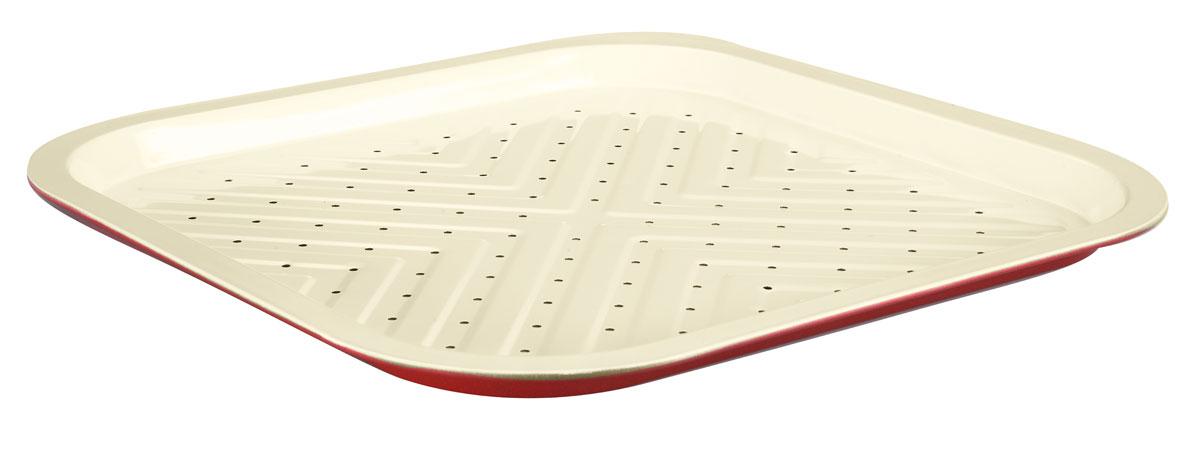 Противень для приготовления картофеля фри Bekker, с керамическим покрытием, 35 х 35 х 2 смBK-3968Противень для приготовления картофеля фри Bekker квадратной формы изготовлен из высококачественной углеродистой стали с антипригарным керамическим покрытием Pfluon. Внешнее покрытие жаростойкое. По всей поверхности изделие имеет специальный рельеф и маленькие отверстия. Идеально подходит для приготовления картофеля фри. Керамическое покрытие не позволяет пище пригорать и прилипать к поверхности, поэтому можно использовать минимальное количество подсолнечного масла. Подходит для использования в духовом шкафу. Рекомендована ручная чистка. Внутренний размер противня: 32 см х 32 см. Общий размер противня (с учетом бортов): 35 см х 35 см. Высота стенки: 2 см. Толщина стенки: 0,4 мм.