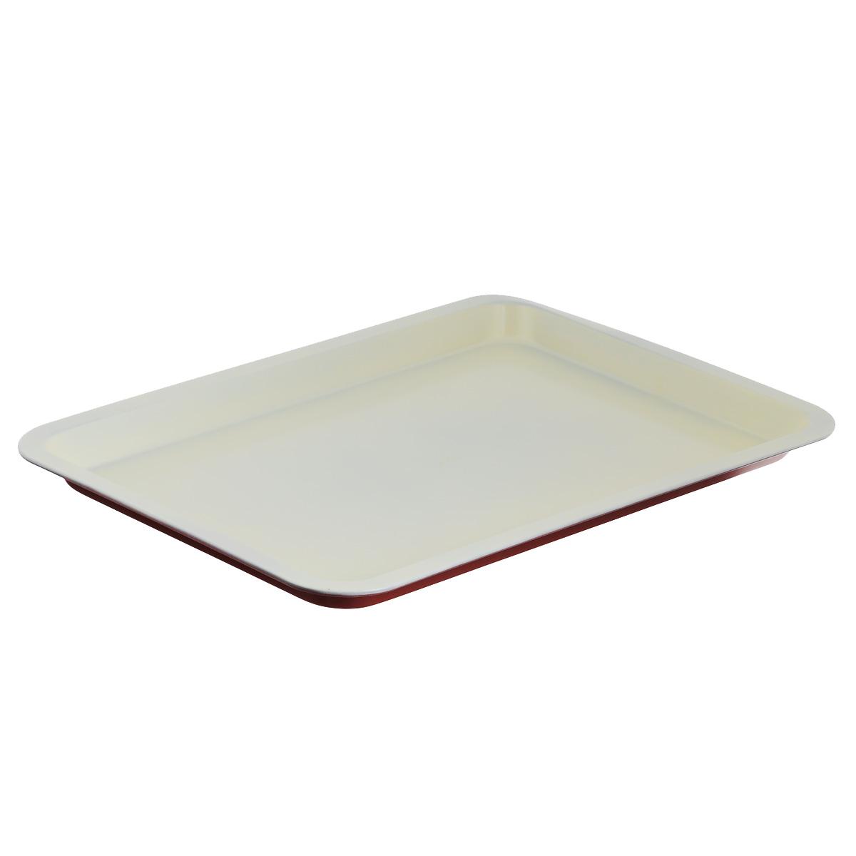 Противень Bekker, с керамическим покрытием, прямоугольный, цвет: красный, белый, 46,5 х 32,5 смBK-3973Прямоугольный противень Bekker изготовлен из углеродистой стали с антипригарным керамическим покрытием Pfluon, благодаря чему пища не пригорает и не прилипает к стенкам посуды. Снаружи противня цветное жаропрочное покрытие. Кроме того, готовить можно с добавлением минимального количества масла и жиров. Антипригарное покрытие также обеспечивает легкость мытья. Стенки ровные. Для чистки нельзя использовать абразивные чистящие средства и жесткие губки. Подходит для использования в духовом шкафу. Нельзя мыть в посудомоечной машине.
