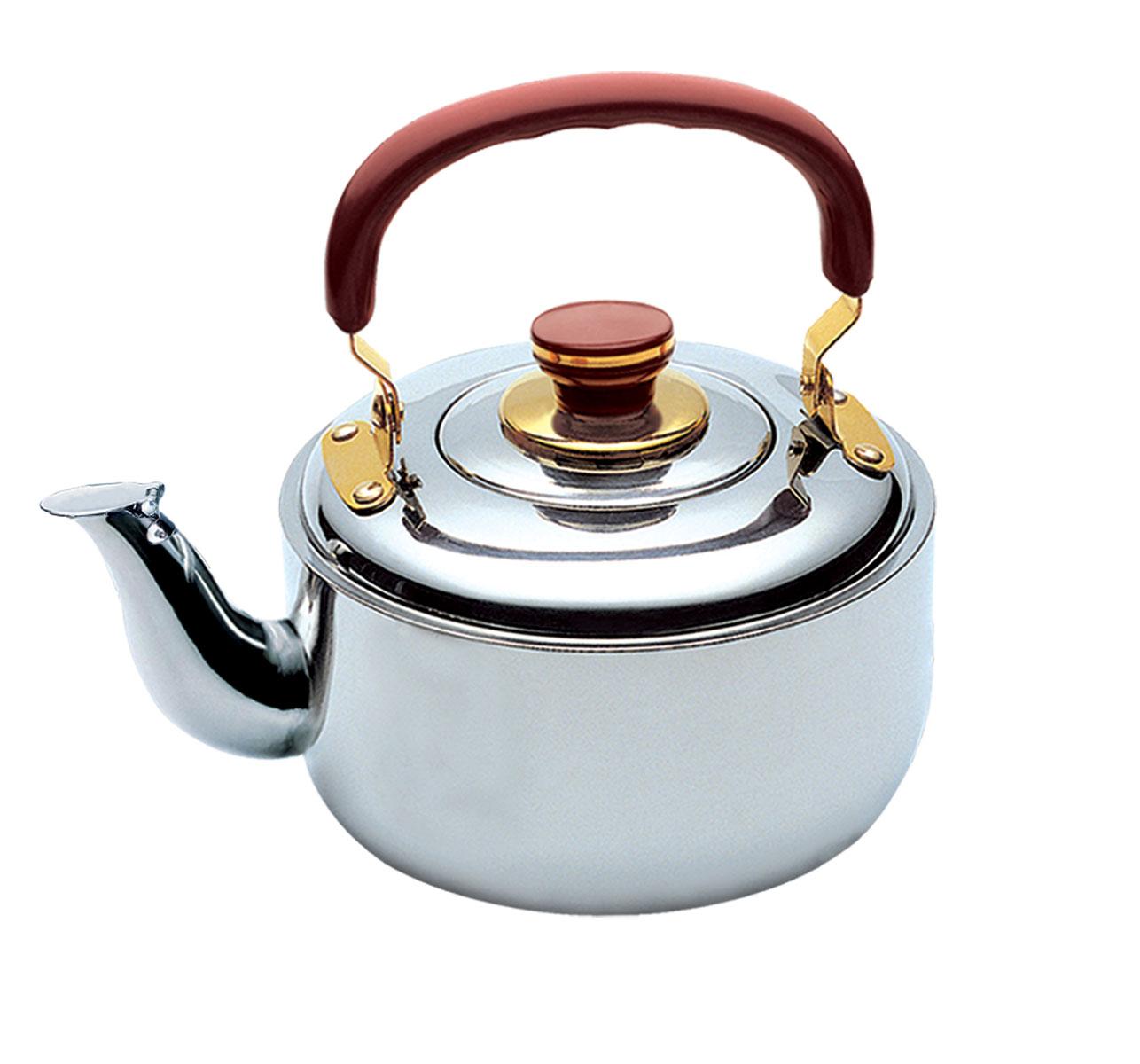 Чайник Bekker Koch со свистком, 4 л. BK-S364BK-S364Чайник Bekker Koch изготовлен из высококачественной нержавеющей стали с зеркальной полировкой. Цельнометаллическое дно распределяет тепло по всей поверхности, что позволяет чайнику быстро закипать. Эргономичная подвижная ручка выполнена из бакелита бордового цвета. Носик оснащен откидным свистком, который подскажет, когда вода закипела. Широкое отверстие по верхнему краю позволяет удобно наливать воду. Подходит для всех типов плит, включая индукционные. Можно мыть в посудомоечной машине.