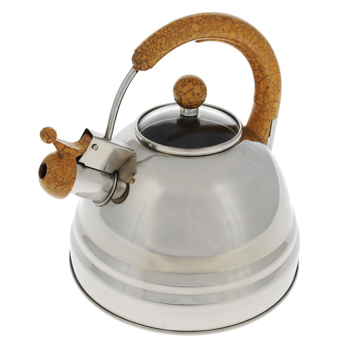 "Чайник Bekker ""Koch"" со свистком, цвет: коричневый, 3 л. BK-S368"