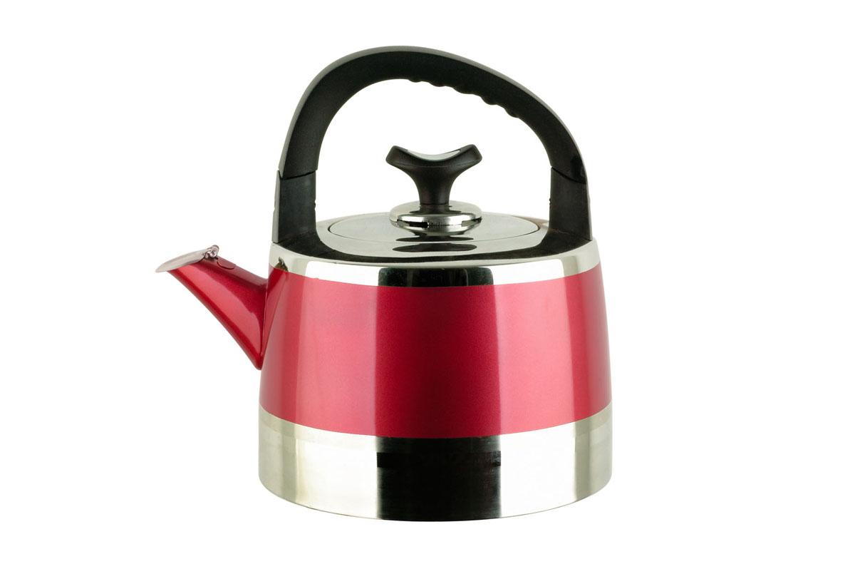 Чайник Bekker Koch со свистком, цвет: красный, 5 л. BK-S448BK-S448Чайник Bekker Koch изготовлен из высококачественной нержавеющей стали с матовой полировкой и с зеркальной полосой красного цвета. Цельнометаллическое дно распределяет тепло по всей поверхности, что позволяет чайнику быстро закипать. Эргономичная подвижная ручка выполнена из бакелита черного цвета. Носик оснащен откидным свистком, который подскажет, когда вода закипела. Широкое отверстие по верхнему краю позволяет удобно наливать воду. Подходит для всех типов плит, включая индукционные. Рекомендована ручная чистка.