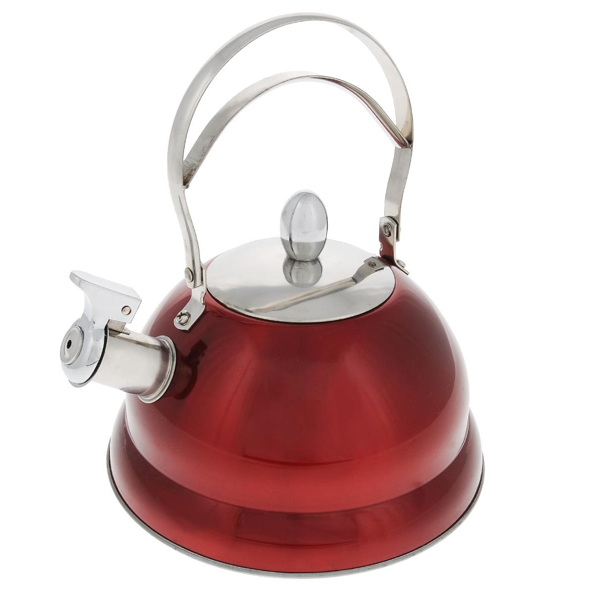 Чайник Bekker De Luxe со свистком, цвет: красный, 2,7 л. BK-S459BK-S459Чайник Bekker De Luxe изготовлен из высококачественной нержавеющей стали 18/10 с цветным эмалевым покрытием. Капсулированное дно распределяет тепло по всей поверхности, что позволяет чайнику быстро закипать. Ручка подвижная. Носик оснащен откидным свистком, который подскажет, когда вода закипела. Свисток открывается и закрывается рычагом на носике. Подходит для всех типов плит, включая индукционные. Можно мыть в посудомоечной машине. Диаметр (по верхнему краю): 10 см. Диаметр основания: 22 см. Высота чайника (без учета ручки): 11,5 см. Высота чайника (с учетом ручки): 25 см.