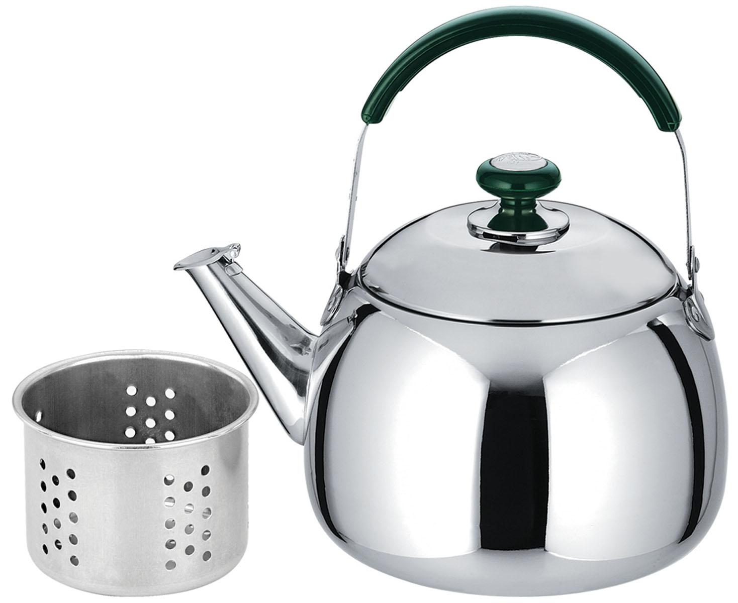 Чайник Bekker, со свистком, с ситечком, 1,5 л. BK-S490BK-S490Чайник Bekker выполнен из высококачественной нержавеющей стали, что обеспечивает долговечность использования. Внешнее зеркальное покрытие придает приятный внешний вид. Бакелитовая ручка делает использование чайника очень удобным и безопасным. Чайник снабжен свистком и ситечком для заваривания. Можно мыть в посудомоечной машине. Подходит для использования на индукционной плите и чистке в посудомоечной машине.