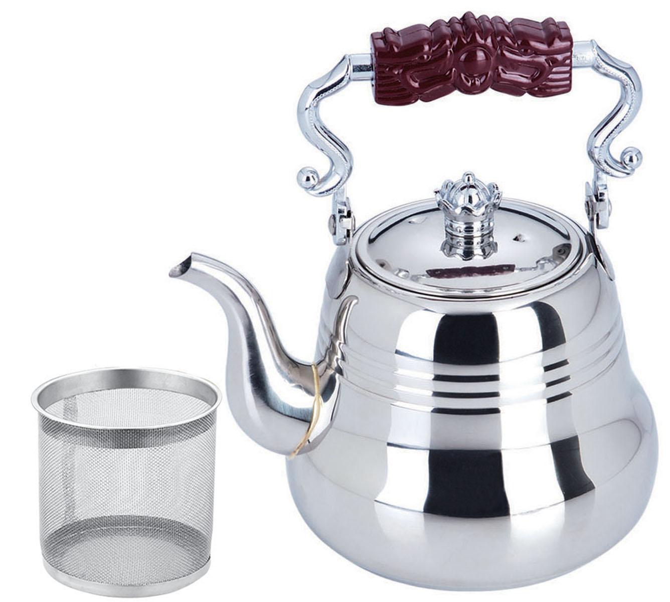 Чайник Bekker, с ситечком, 1,5 лBK-S497Чайник Bekker выполнен из высококачественной нержавеющей стали, что обеспечивает долговечность использования. Внешнее зеркальное покрытие придает приятный внешний вид. Бакелитовая ручка делает использование чайника очень удобным и безопасным. Чайник снабжен ситечком для заваривания. Можно мыть в посудомоечной машине. Пригоден для всех видов плит, включая индукционные.