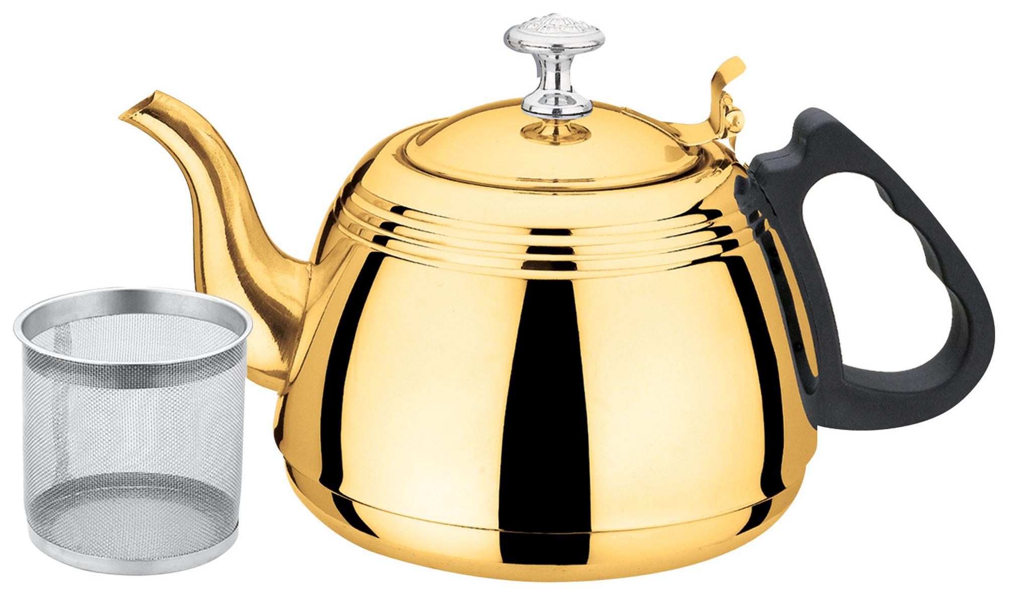Чайник Bekker, с ситечком, цвет: золотистый, 1 лBK-S505Чайник Bekker выполнен из высококачественной нержавеющей стали, что обеспечивает долговечность использования. Внешнее зеркальное покрытие придает приятный внешний вид. Бакелитовая ручка делает использование чайника очень удобным и безопасным. Чайник снабжен ситечком для заваривания. Можно мыть в посудомоечной машине. Пригоден для всех видов плит, включая индукционные.