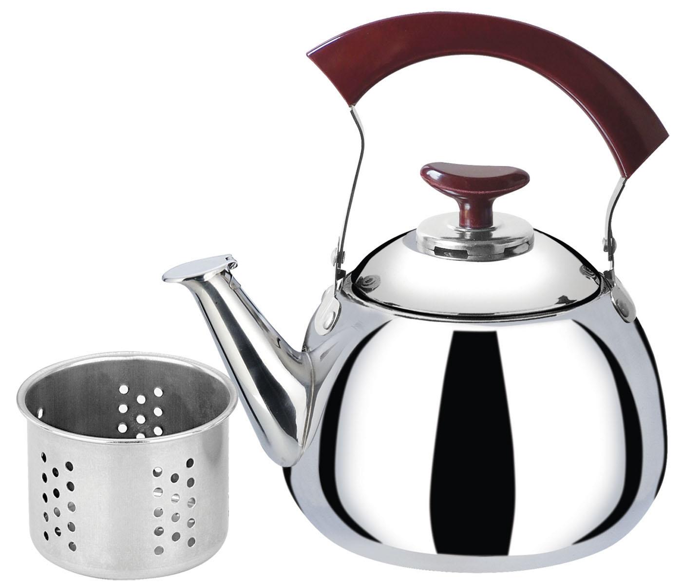 Чайник Bekker, со свистком, с ситечком, 1,5 л. BK-S507BK-S507Чайник Bekker выполнен из высококачественной нержавеющей стали, что обеспечивает долговечность использования. Внешнее зеркальное покрытие придает приятный внешний вид. Бакелитовая ручка делает использование чайника очень удобным и безопасным. Чайник снабжен свистком и ситечком для заваривания. Можно мыть в посудомоечной машине. Пригоден для всех видов плит, включая индукционные.
