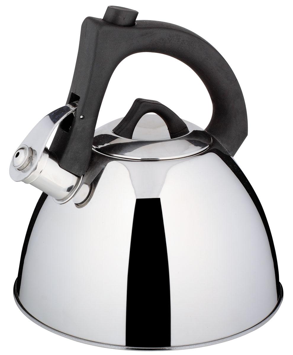 Чайник Bekker De Luxe со свистком, 2,7 лBK-S523Чайник Bekker De Luxe выполнен из высококачественной нержавеющей стали, что обеспечивает долговечность использования. Внешнее зеркальное покрытие придает приятный внешний вид. Бакелитовая фиксированная ручка с силиконовым покрытием делает использование чайника очень удобным и безопасным. Чайник снабжен свистком и устройством для открывания носика, которое находится на ручке. Изделие оснащено капсулированным дном для лучшего распространения тепла. Можно мыть в посудомоечной машине. Пригоден для всех видов плит, включая индукционные.