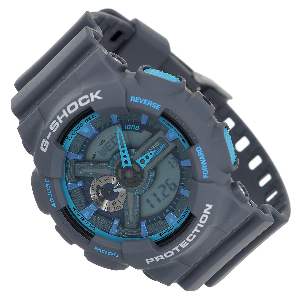 Часы мужские наручные Casio G-Shock, цвет: серый, голубой. GA-110TS-8A2GA-110TS-8A2Стильные часы G-Shock от японского брэнда Casio - это яркий функциональный аксессуар для современных людей, которые стремятся выделиться из толпы и подчеркнуть свою индивидуальность. Часы выполнены в спортивном стиле. Корпус имеет ударопрочную конструкцию, защищающую механизм от ударов и вибрации. Циферблат подсвечивается светодиодом, функция автоподсветки освещает циферблат при повороте часов к лицу. Ремешок из мягкого пластика имеет классическую застежку. Основные функции: - 5 будильников, один с функцией повтора сигнала (чтобы отложить пробуждение), ежечасный сигнал; - автоматический календарь (число, месяц, день недели, год); - секундомер с точностью показаний 1/1000 с, время измерения 100 часов; - 12-ти и 24-х часовой формат времени; - таймер обратного отсчета от 1 мин до 24 ч с автоповтором; - измерение скорости и расстояния; - мировое время; - сплит-хронограф; ...