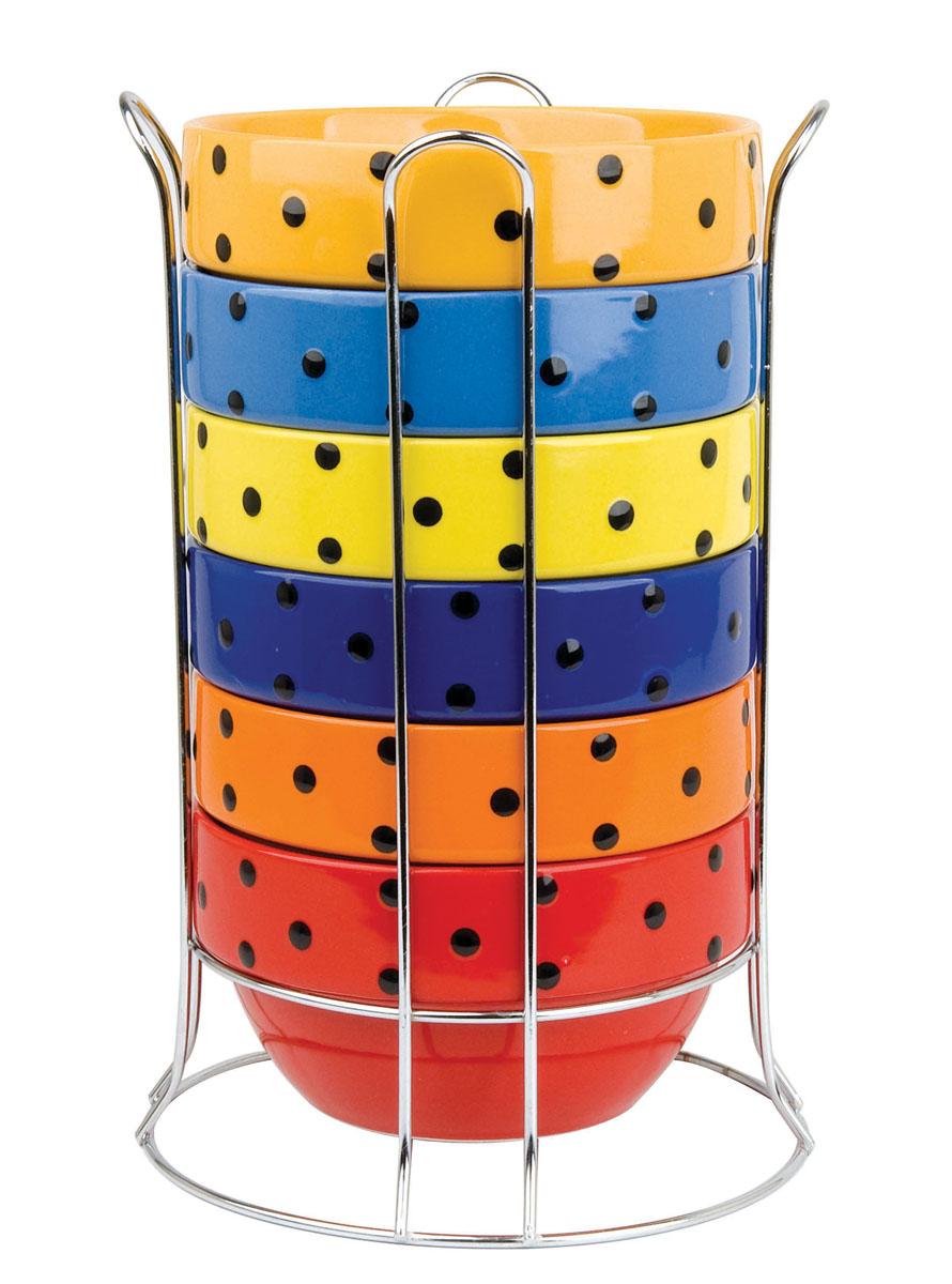 Набор пиал Bekker, 700 мл, 7 предметов. BK-7319BK-7319Набор Bekker состоит из 6 разноцветных пиал и металлической подставки. Пиалы круглой формы выполнены из жаропрочной керамики, покрытой глазурью, и украшены принтом в черный горошек. Для пиал предусмотрена металлическая подставка. Пиалы очень многофункциональны и вместительны: их можно использовать в качестве салатников, в них можно подавать суп, каши, хлопья и многое другое. Такой набор пригодится на любой кухне, а яркий дизайн сделает его настоящим украшением интерьера.
